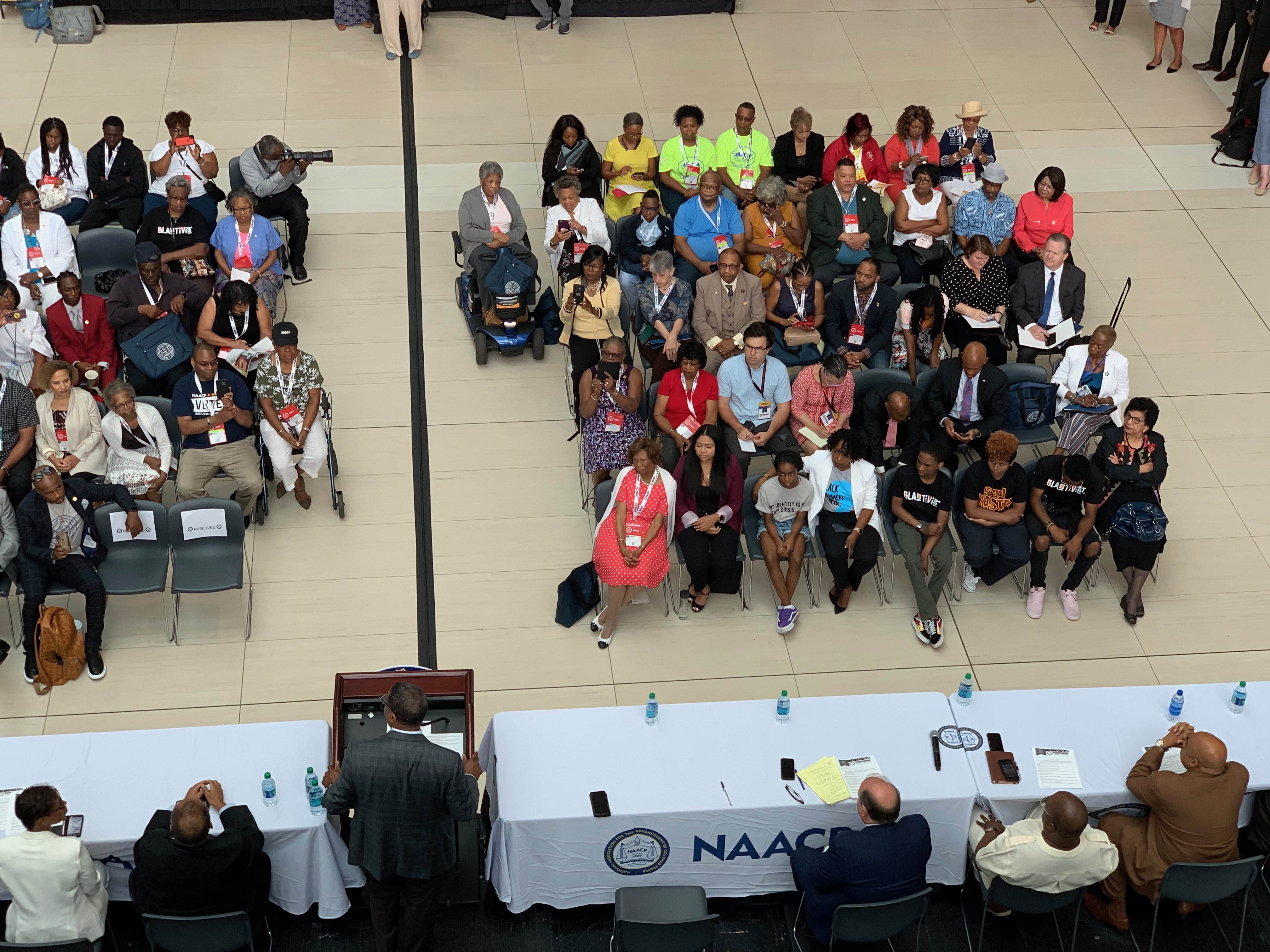 NAACP President Derrick Johnson speaks at the opening press conference of the association's 110th annual national convention at the Cobo Center in Detroit, Michigan, on Saturday, July 20, 2019.