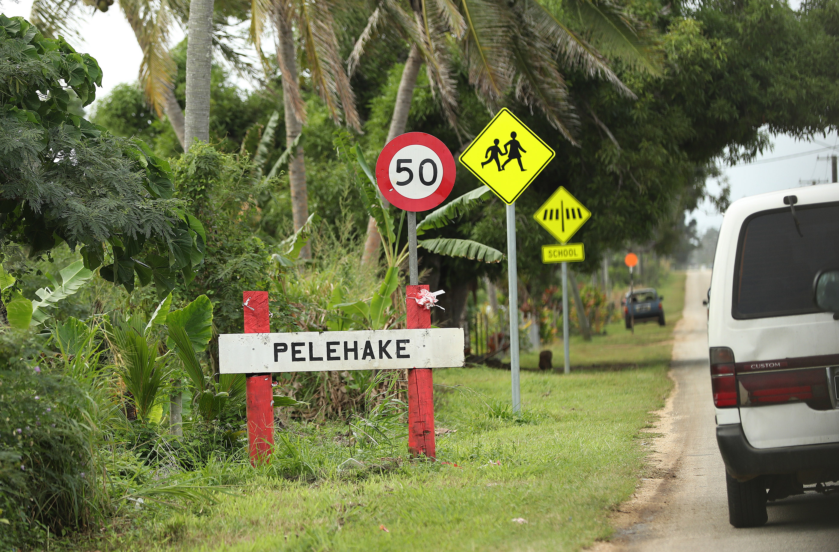 Signs for motorists in Tonga on May 23, 2019.