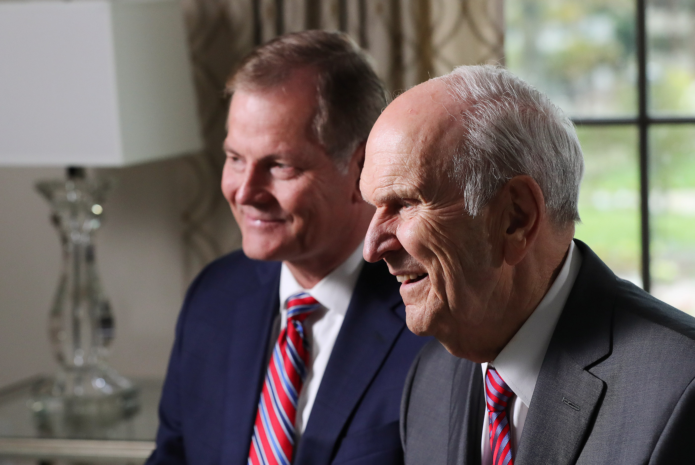 President Russell M. Nelson and Elder Gary E. Stevenson of the Quorum of the Twelve Apostles speak during a press conference after the dedication of the Concepcion Chile Temple in Concepcion, Chile, on Sunday, Oct. 28, 2018.