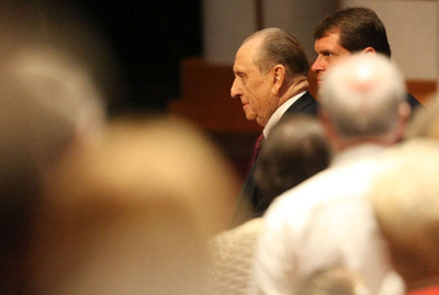 President Thomas S. Monson makes his way to his seat at Golden Days, A Celebration of Life, in honor of his 85th birthday in the Conference Center in Salt Lake City on Friday, Aug. 17, 2012.