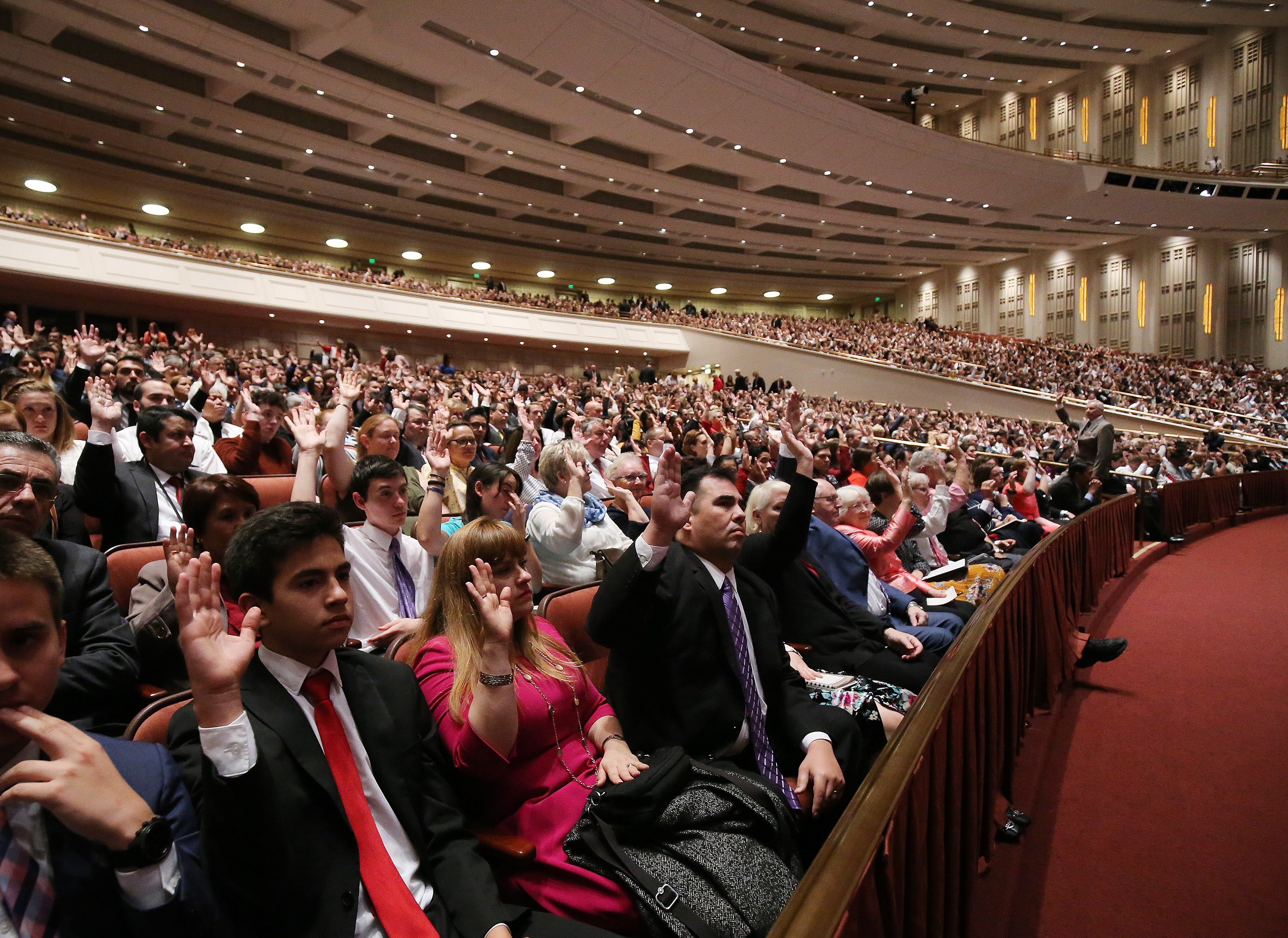 Attendees sustain general authorities during the Saturday afternoon session of the 188th Semiannual General Conference of The Church of Jesus Christ of Latter-day Saints in the Conference Center in Salt Lake City on Saturday, Oct. 6, 2018.