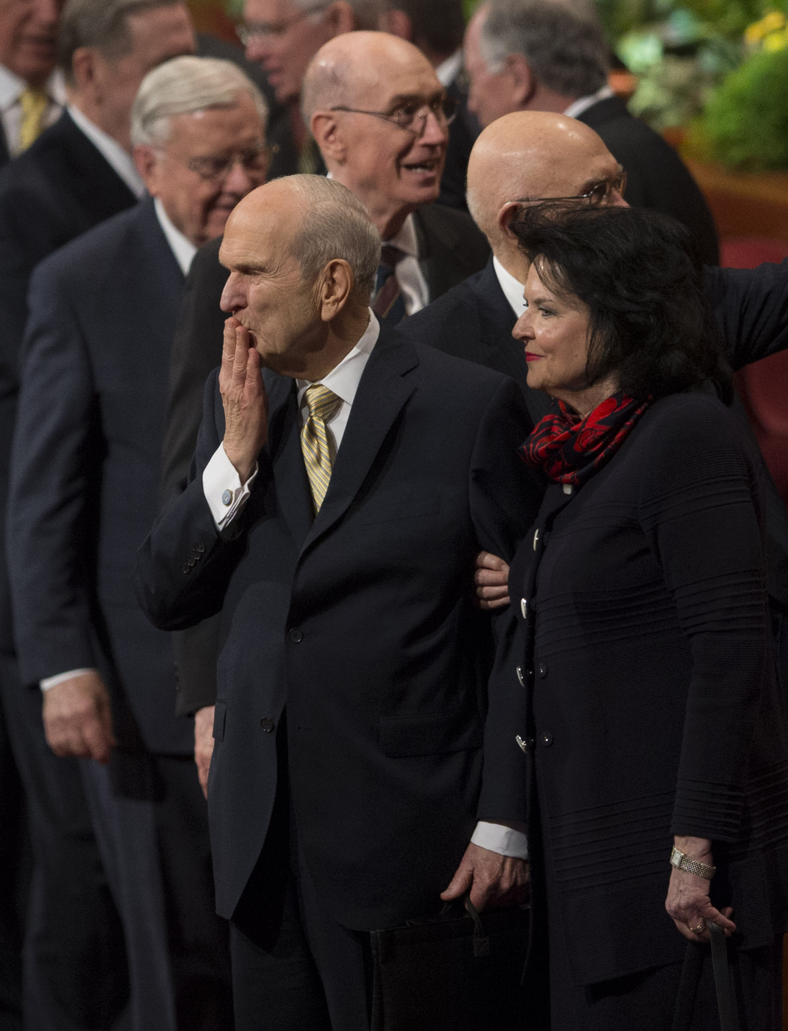 President Russell M. Nelson and his wife, Sister Wendy Nelson, exit following the Sunday afternoon session of the 188th Annual General Conference of The Church of Jesus Christ of Latter-day Saints, in the Conference Center in Salt Lake City on Sunday, April 1, 2018.
