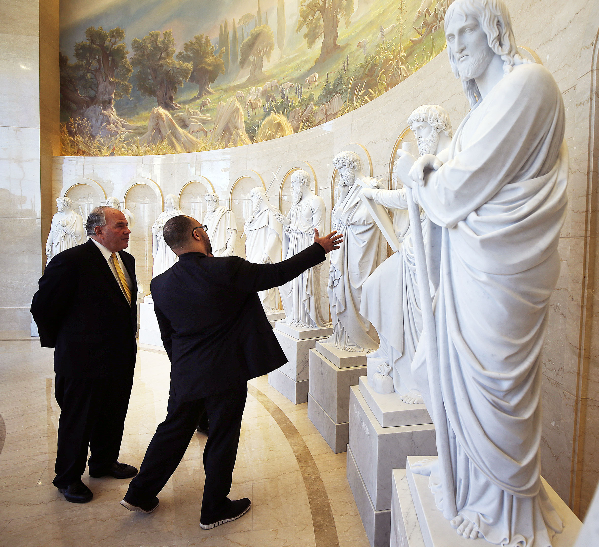 Elder Ronald A. Rasband, left, of The Quorum of the Twelve Apostles of The Church of Jesus Christ of Latter-day Saints, talks with Pastor Chris Zacharias of the John Wesley A.M.E. Zion Church as they tour the Rome Italy Temple Visitors' Center on Tuesday, Jan. 15, 2019.