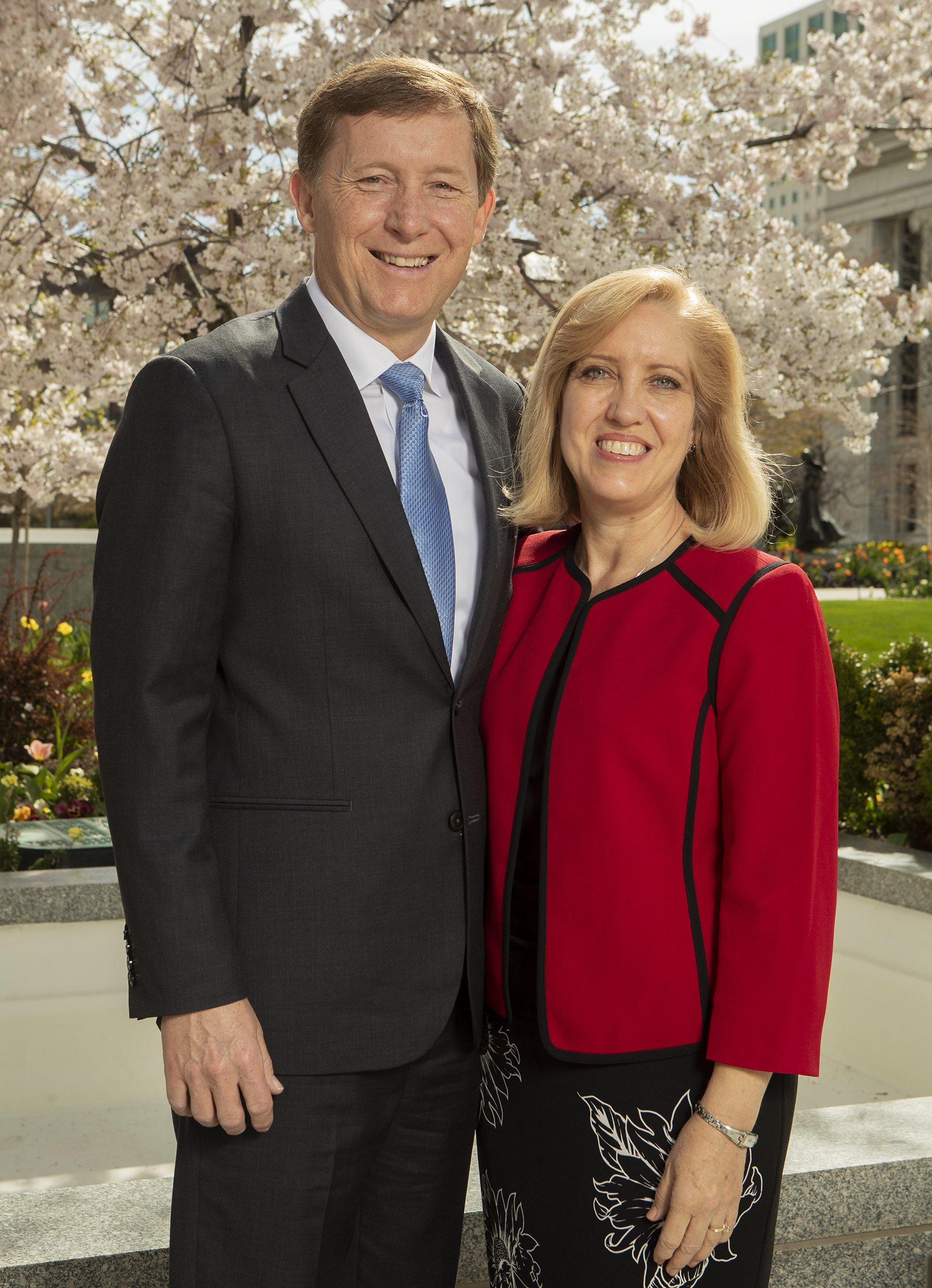 Elder L. Todd Budge and Sister Lori Capener Budge pose for a photo at the Church Office Building in Salt Lake City on Monday, April 8, 2019. Elder Budge was sustained as a General Authority Seventy in the April 2019 general conference.