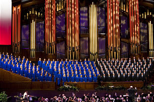 The Tabernacle Choir and the Orchestra at Temple Square perform at the Pioneer Day Commemoration Concert at the Conference Center of the Church of Jesus Christ of Latter-day Saints in Salt Lake City on Friday, July 22, 2011.
