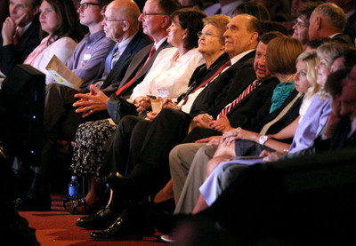 President Thomas S. Monson, center, during a celebration in the Conference Center in honor of his 85th birthday. His wife, Sister Frances J. Monson, is on his right. Others pictured are friends and family members.