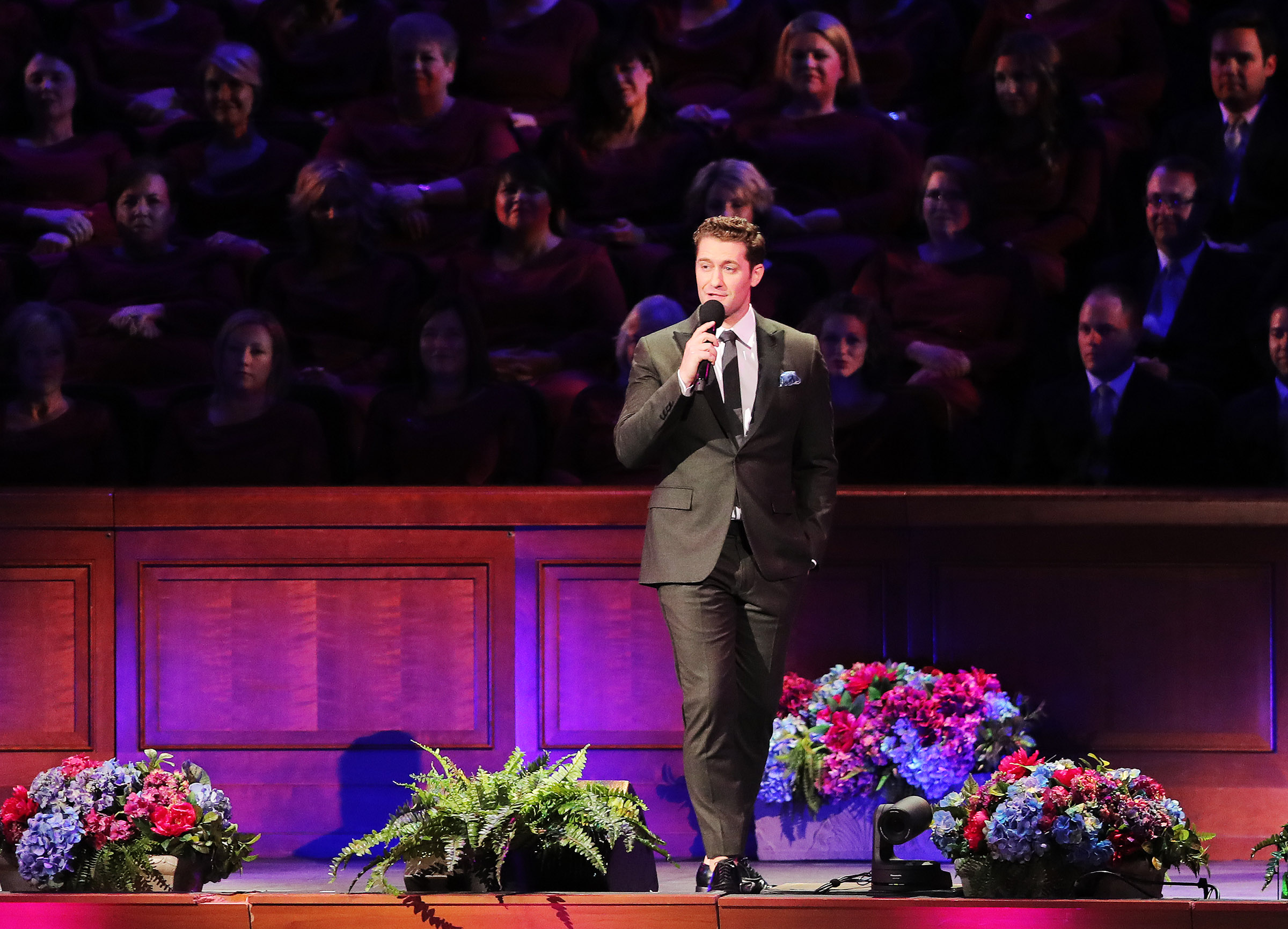 Matthew Morrison sings as he joins the Mormon Tabernacle Choir and Orchestra at Temple Square in their annual Pioneer Concert at the Conference Center in Salt Lake City on Friday, July 20, 2018.