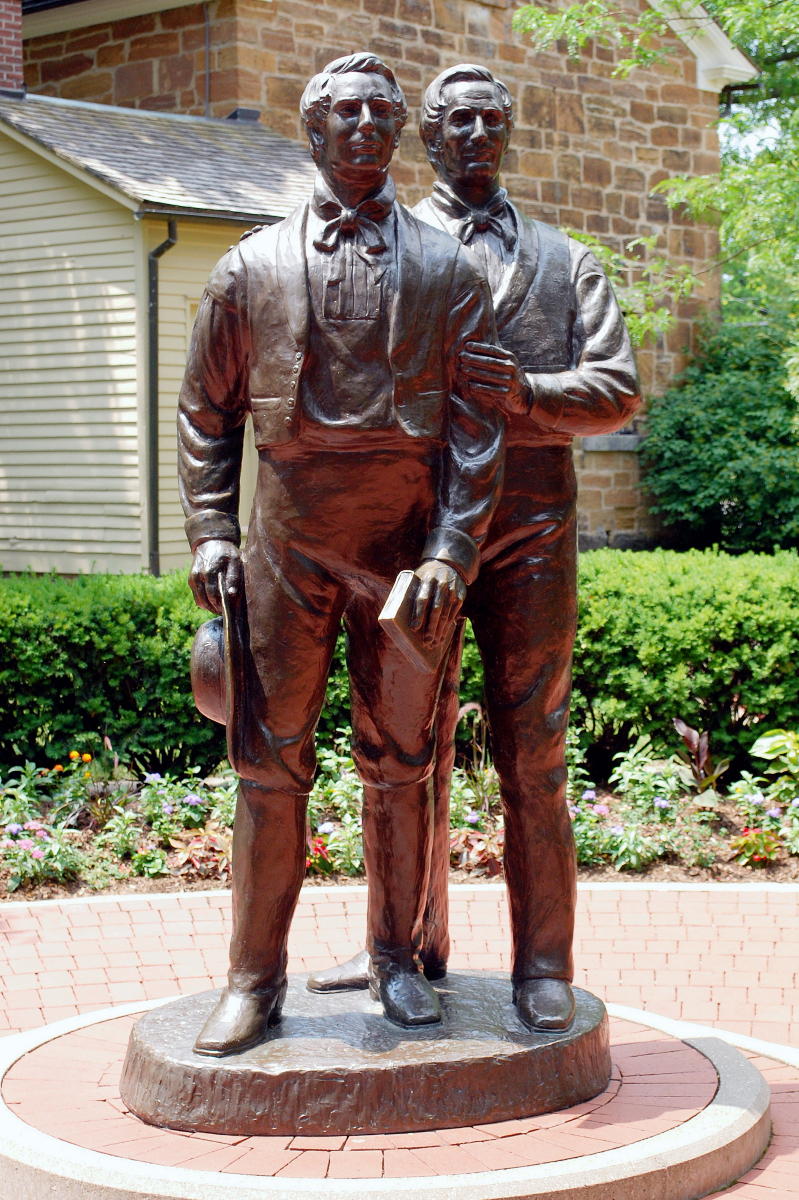 A statue of Joseph and Hyrum Smith by Carthage Jail in Illinois.