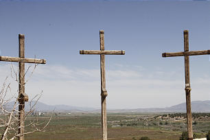 The three crosses of Golgotha are located at the edge of a cliff overlooking the Goshen Valley at the far side of the Bible videos set.