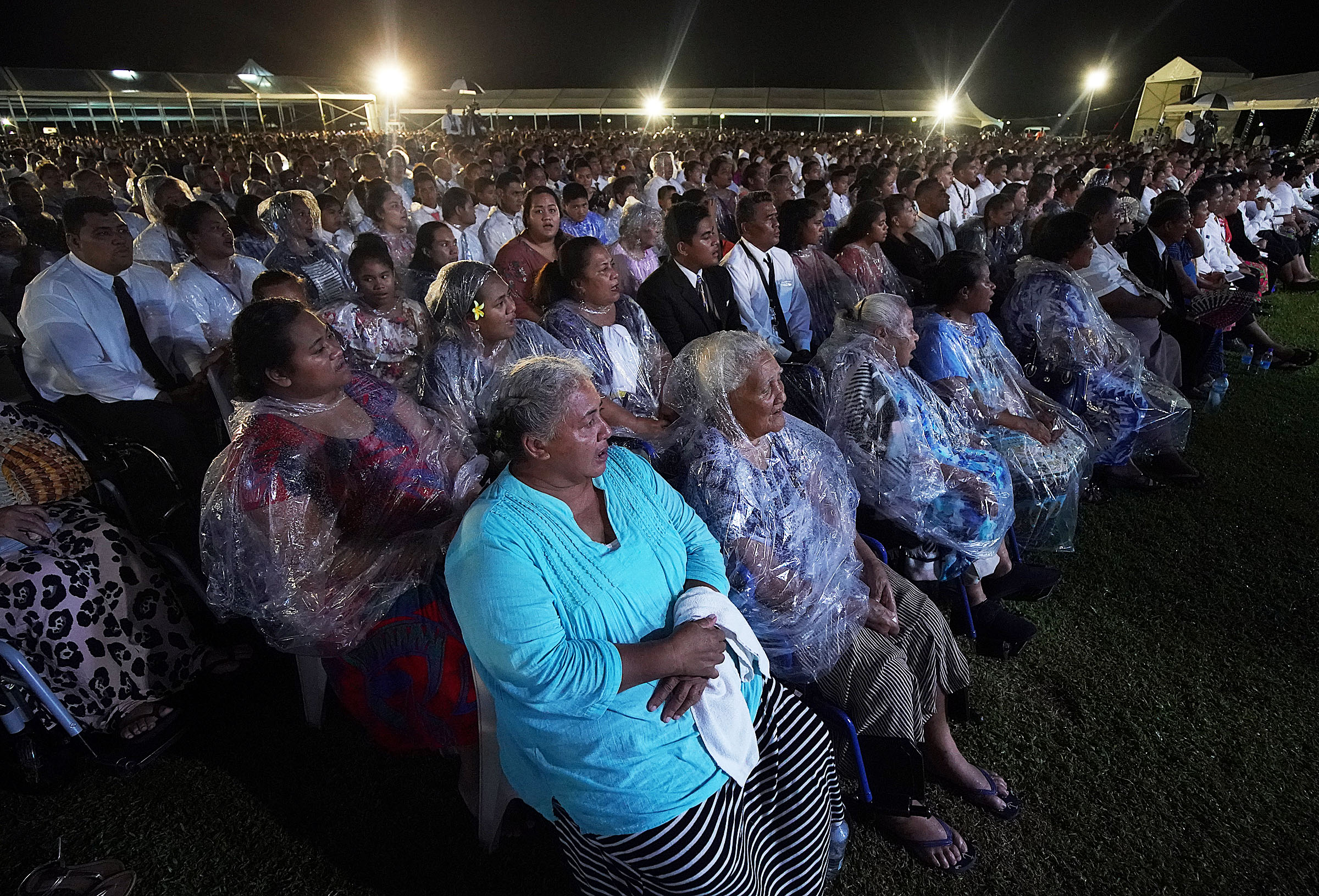 The congregation sings during a devotional with President Russell M. Nelson of The Church of Jesus Christ of Latter-day Saints in Apia, Samoa, on Saturday, May 18, 2019.