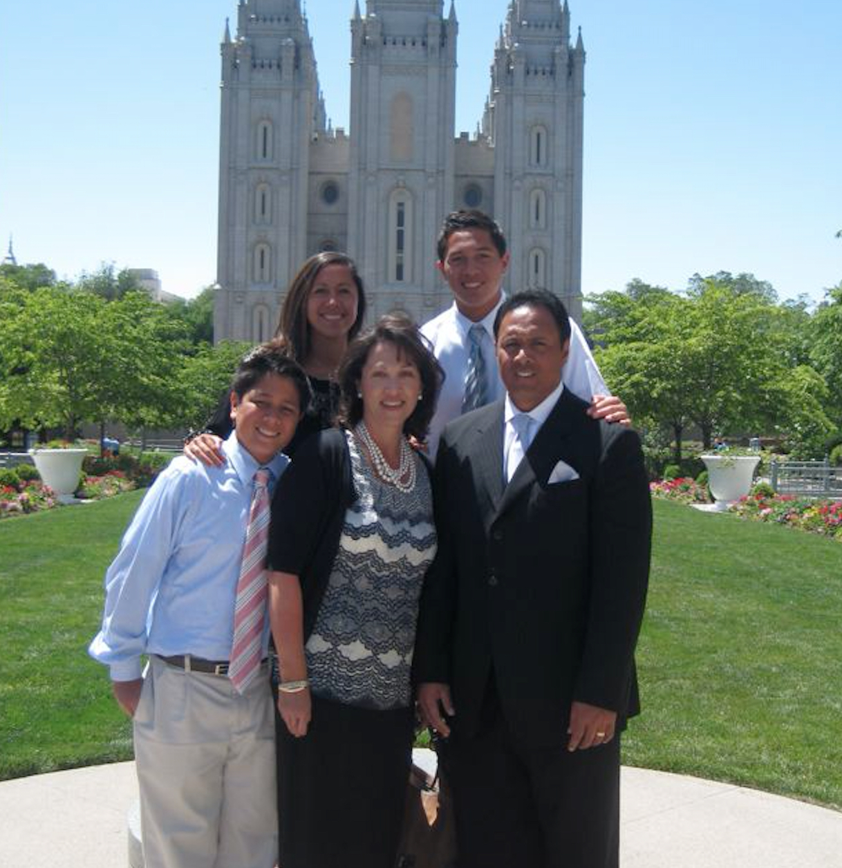 The Ken and Barbara Niumatalolo family at Temple Square in Salt Lake City.