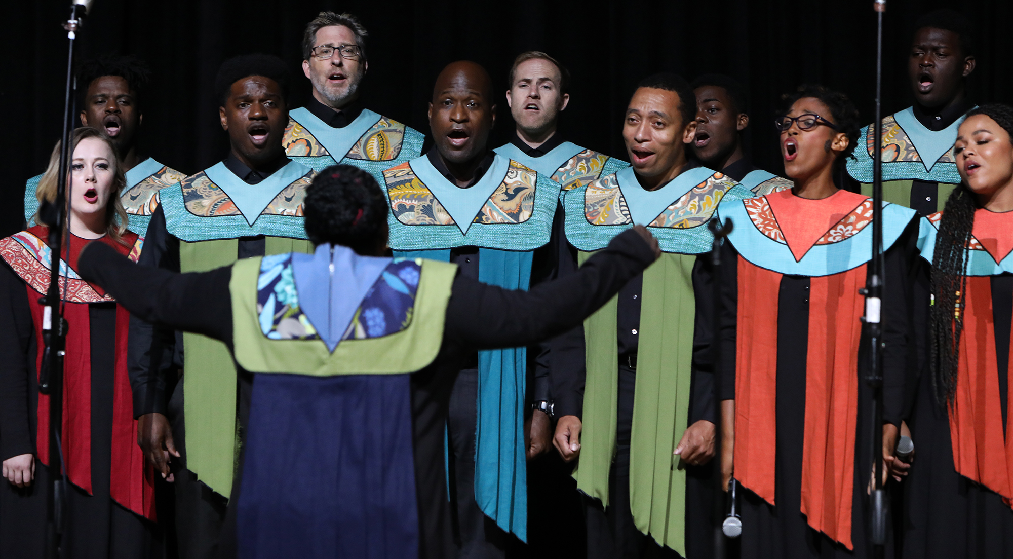 """The Debra Bonner Unity Gospel Choir, an independent LDS choir, performs """"Calvary"""" during the 109th NAACP Annual Convention at the Henry B. González Convention Center in San Antonio on Sunday, July 15, 2018."""