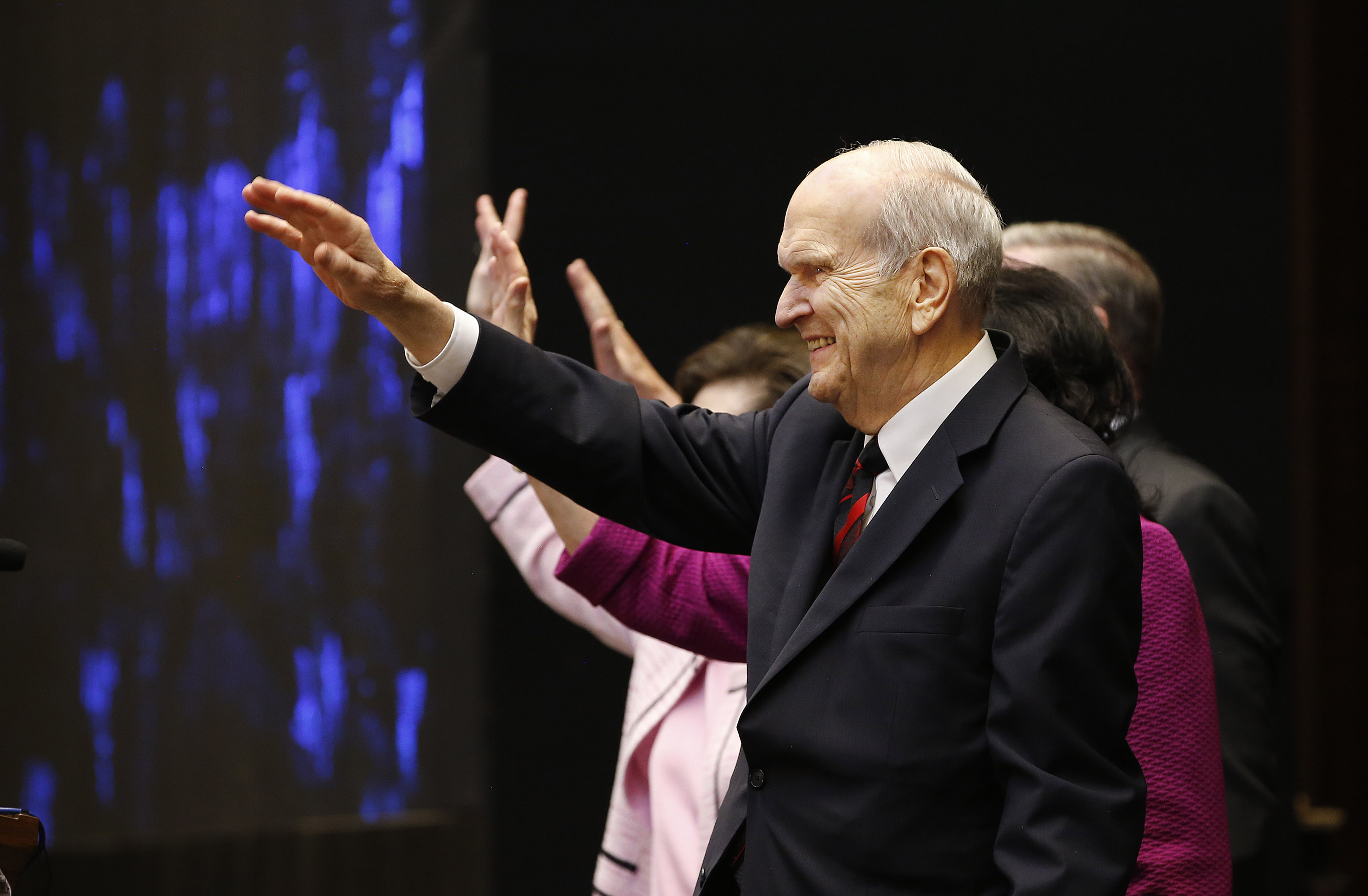 President Russell M. Nelson waves to attendees after a devotional in Bengaluru, India, on Thursday, April 19, 2018.