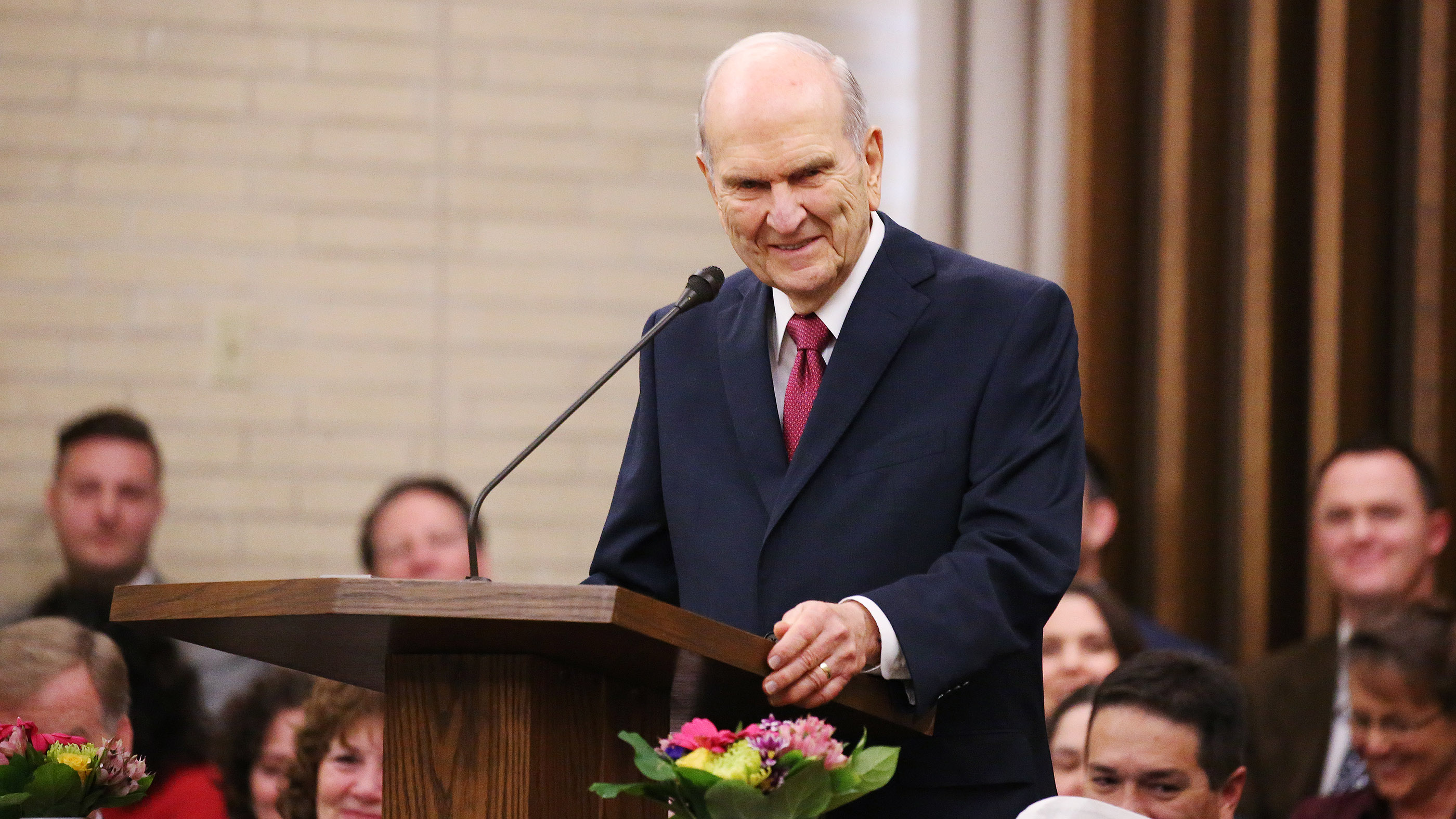 President Russell M. Nelson of The Church of Jesus Christ of Latter-day Saints speaks in Chico, California, on Sunday, Jan. 13, 2019, two months after the Camp Fire destroyed more than 18,000 homes and businesses.