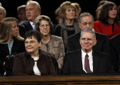Elder Jay E. Jensen of the Presidency of the Seventy and his wife, Sister Lona Jensen, look over the attendees prior to speaking at a Church Educational System broadcast for young married and single adults at BYU in Provo Sunday, Jan. 8, 2012.