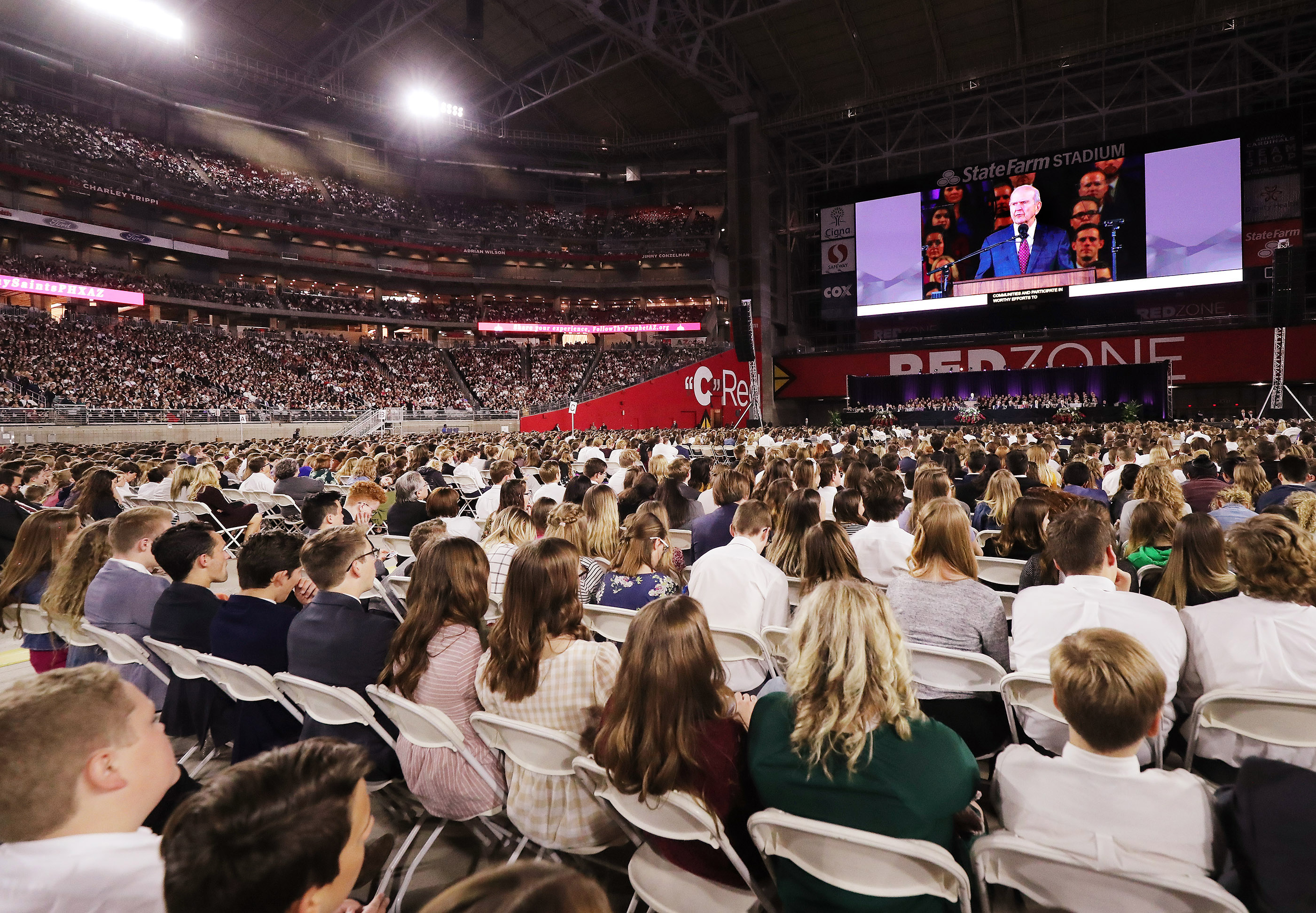 President Russell M. Nelson of The Church of Jesus Christ of Latter-day Saints speaks during a devotional at the State Farm Stadium in Phoenix on Sunday, Feb. 10, 2019.
