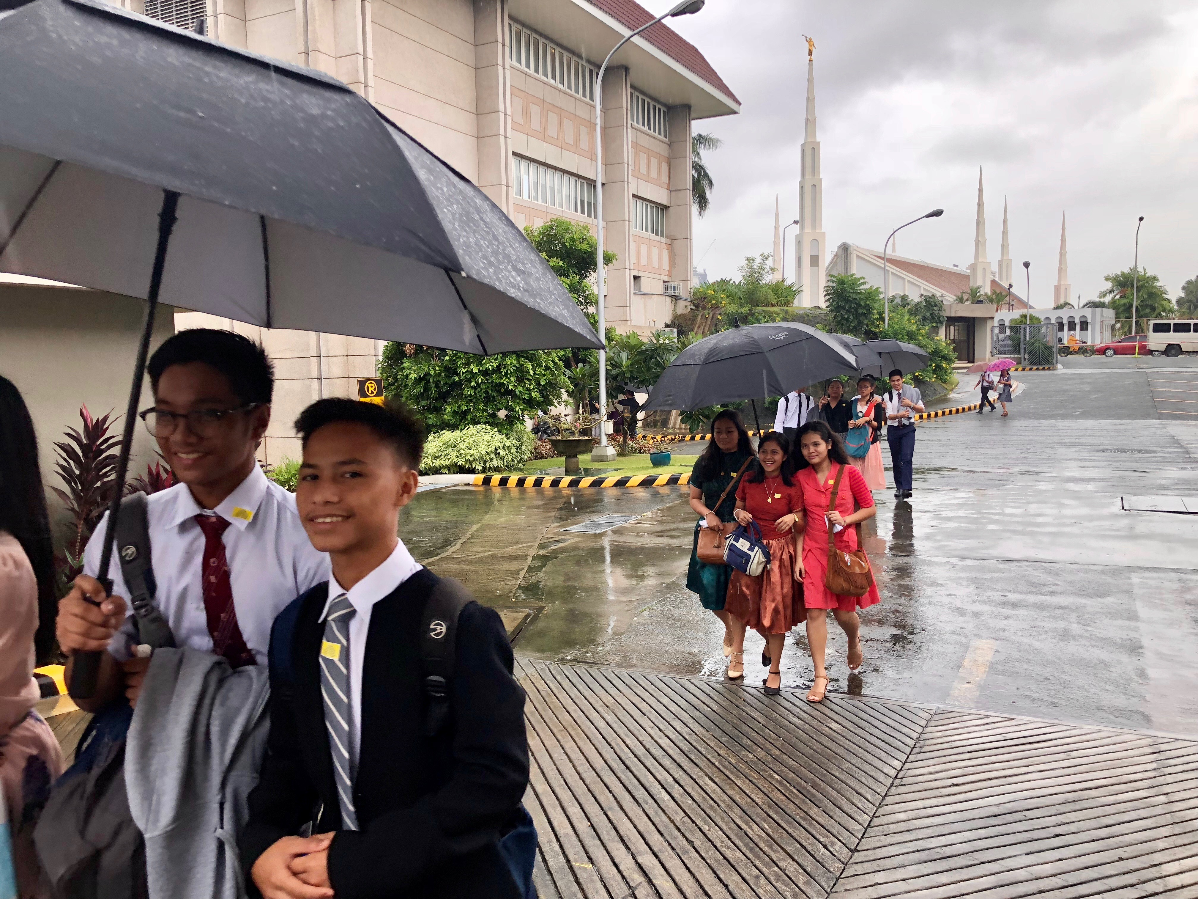 Youth in the Philippines participate in the Face to Face event on Aug. 11, 2018, with Elder Gary E. Stevenson of the Quorum of the Twelve Apostles and his wife, Sister Lesa Stevenson.