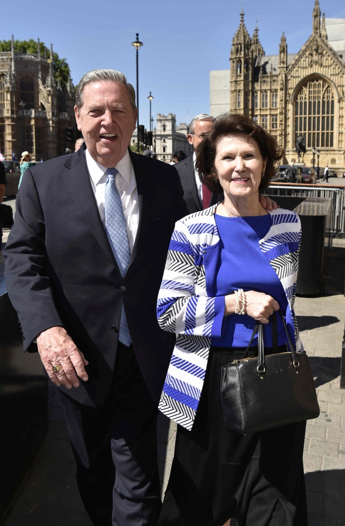 Elder Jeffrey R. Holland and Sister Patricia Holland arrive at Parliament, London, England, on July 2, 2018.