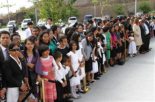 Crowds gather for the cornerstone ceremony of the March 17, 2013, dedication of the Tegucigalpa Honduras Temple.