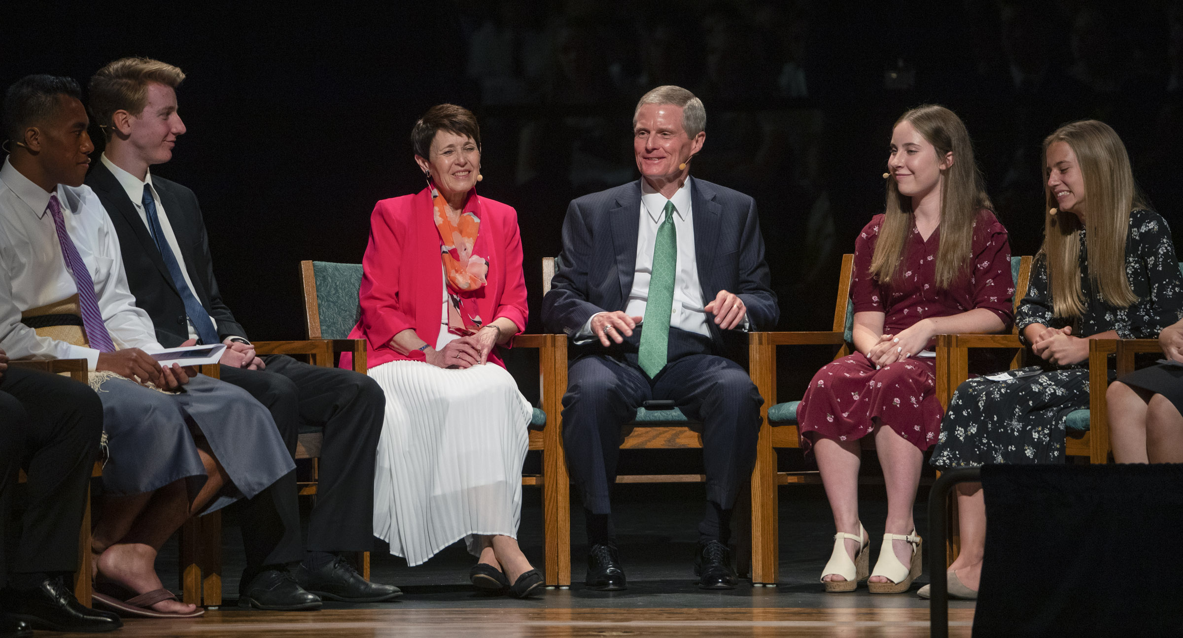 Elder David A. Bednar of the Quorum of the Twelve Apostles and his wife, Sister Susan Bednar, speak with youth in a panel discussion during a youth devotional at the Interstake Center on the Oakland California Temple grounds on Saturday June 15, 2019.