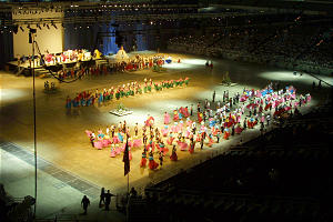 The football stadium's massive floor provided plenty of space for the thousands who participated in the jubilee.