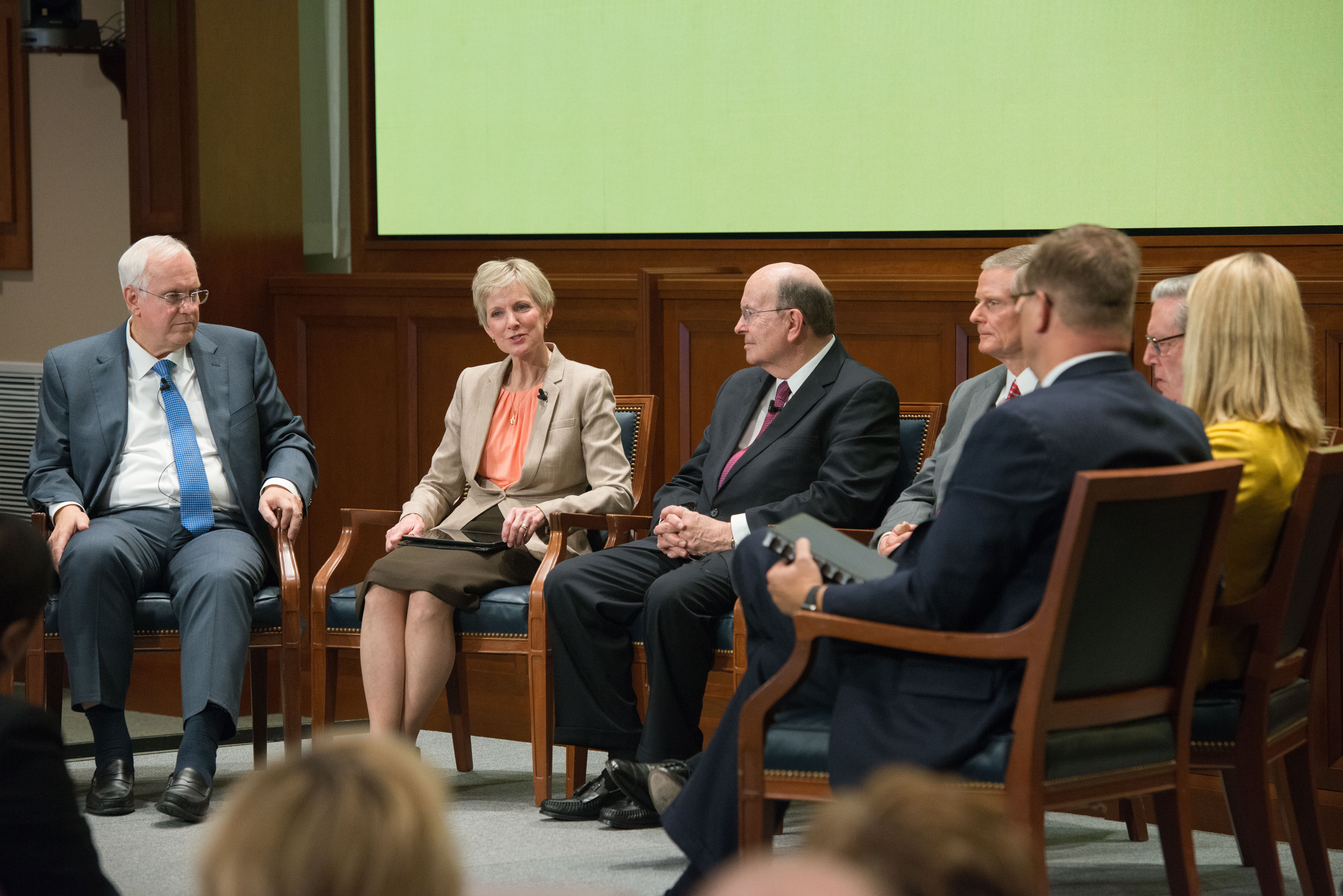 A Worldwide broadcast to Pathway students around the world. The theme was over coming obstacles with messages from Elder Jeffrey R. Holland and other members of the Church Board of Education, including Elder David A. Bednar, Elder Quentin L. Cook, Sister Jean B. Bingham, and Elder Robert C. Gay along with Elder Kim B. Clark, Church Commissioner of Education, and President Clark G. Gilbert with his wife, Christine.