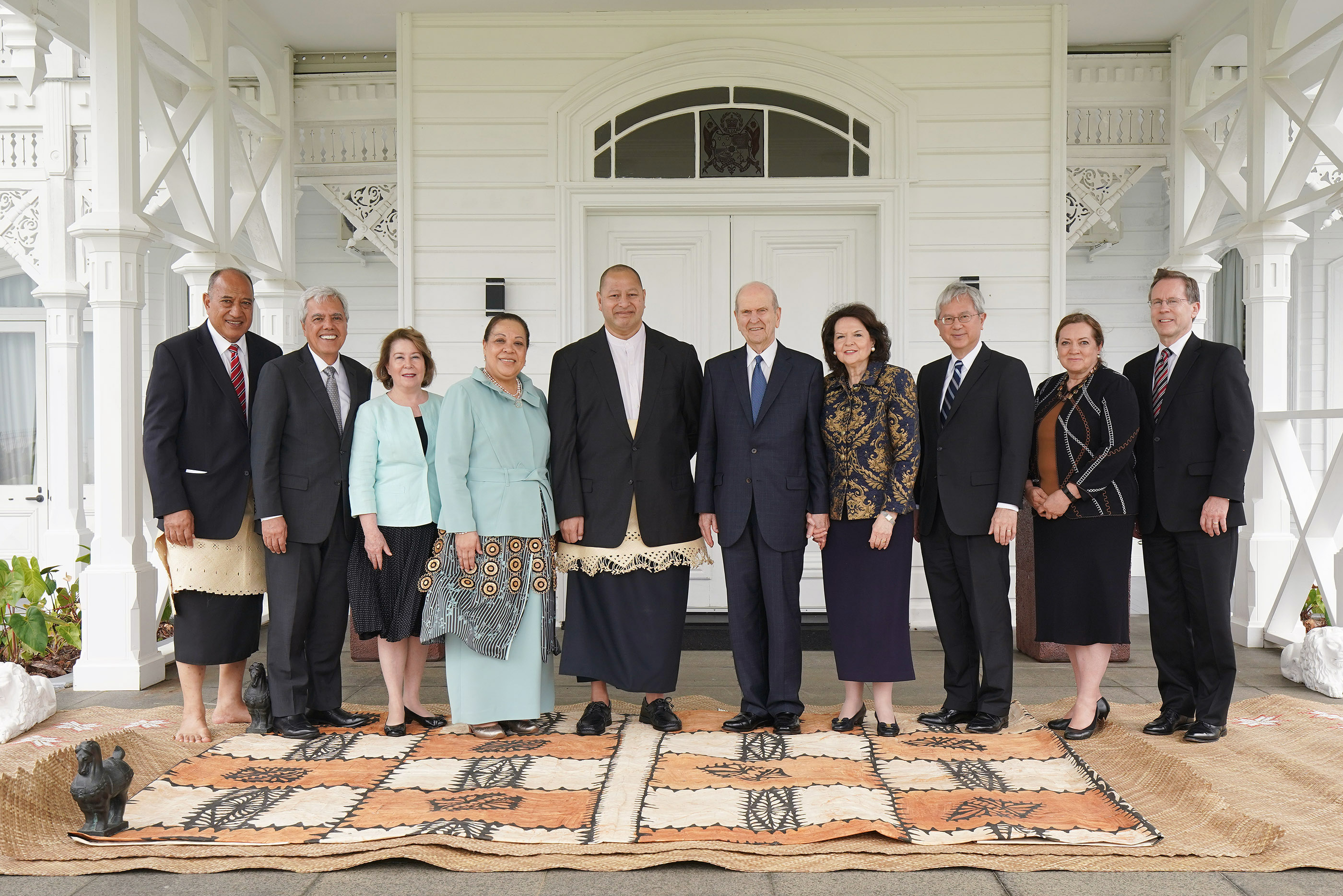 President Russell M. Nelson of The Church of Jesus Christ of Latter-day Saints and his wife Sister Wendy Nelson meet with Her Majesty Queen Nanasipau'u and His Majesty King Tupou VI at the Royal Palace in Tonga on May 23, 2019. Also pictured are Elder Gerrit W. Gong, of The Church of Jesus Christ of Latter-day Saints' Quorum of the Twelve Apostles and his wife Sister Susan Gong and Elder O. Vincent Haleck and his wife Sister Peggy Haleck.