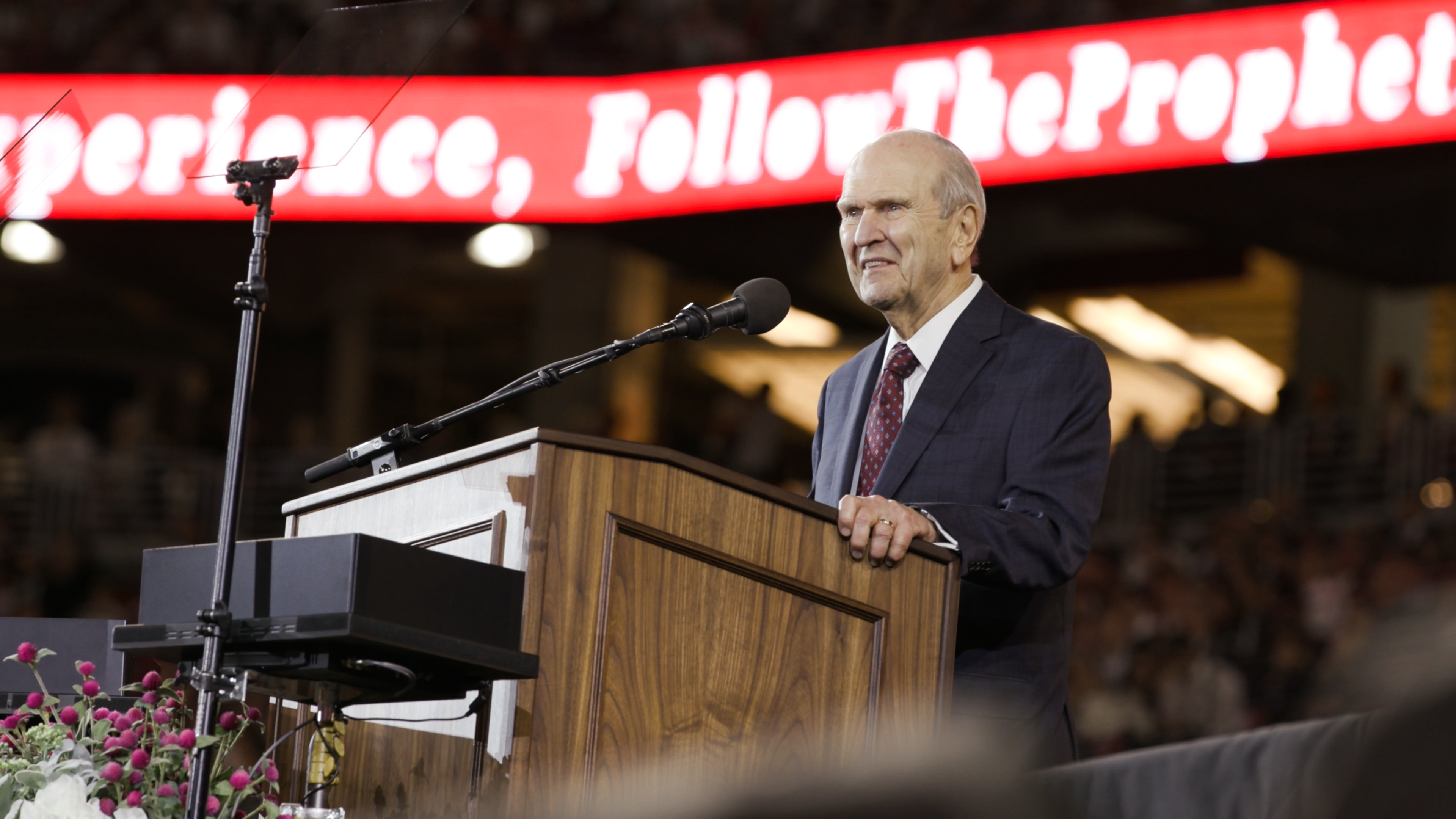 President Russell M. Nelson of The Church of Jesus Christ of Latter-day Saints speaks to attendees after speaking at the State Farm Stadium in Phoenix on Sunday, Feb. 10, 2019.