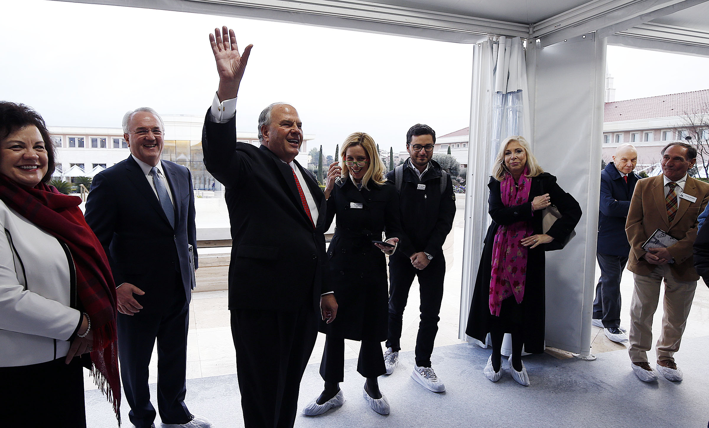 Elder Ronald A. Rasband of the Quorum of the Twelve Apostles of The Church of Jesus Christ of Latter-day Saints leads a tour during the open house for the Rome Italy Temple on Monday, Jan. 14, 2019.