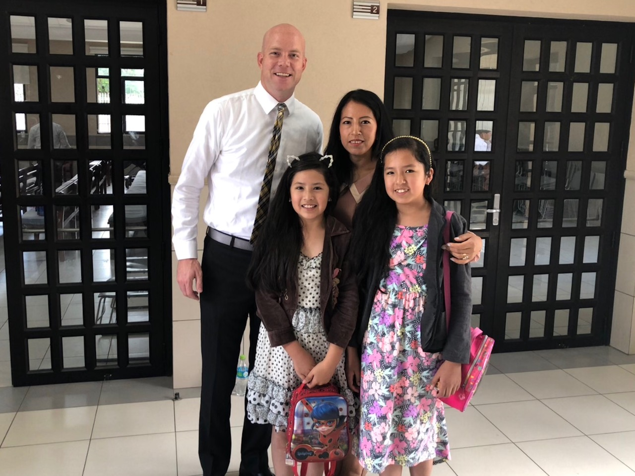 From left: Davis Smith with Ilsen and her two daughters. Ilsen is a member who Davis Smith taught and baptized while serving in Cochabamba 20 years ago. During a recent return trip to Bolivia, Smith was able to reunite with Ilsen at a local Church.