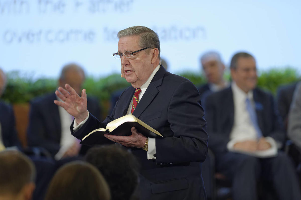 Elder Jeffrey R. Holland of the Quorum of the Twelve teaches from the scriptures during a large group interactive session of the 2015 Seminar for New Mission Presidents.