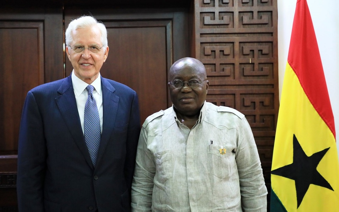 Elder D. Todd Christofferson meets with Ghana President Nana Akufo-Addo on May 30, 2019.