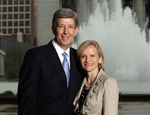 Elder S. Gifford Nielsen and Wendy Olson Nielsen pose for a portrait in Salt Lake City, Monday, April 8, 2013.
