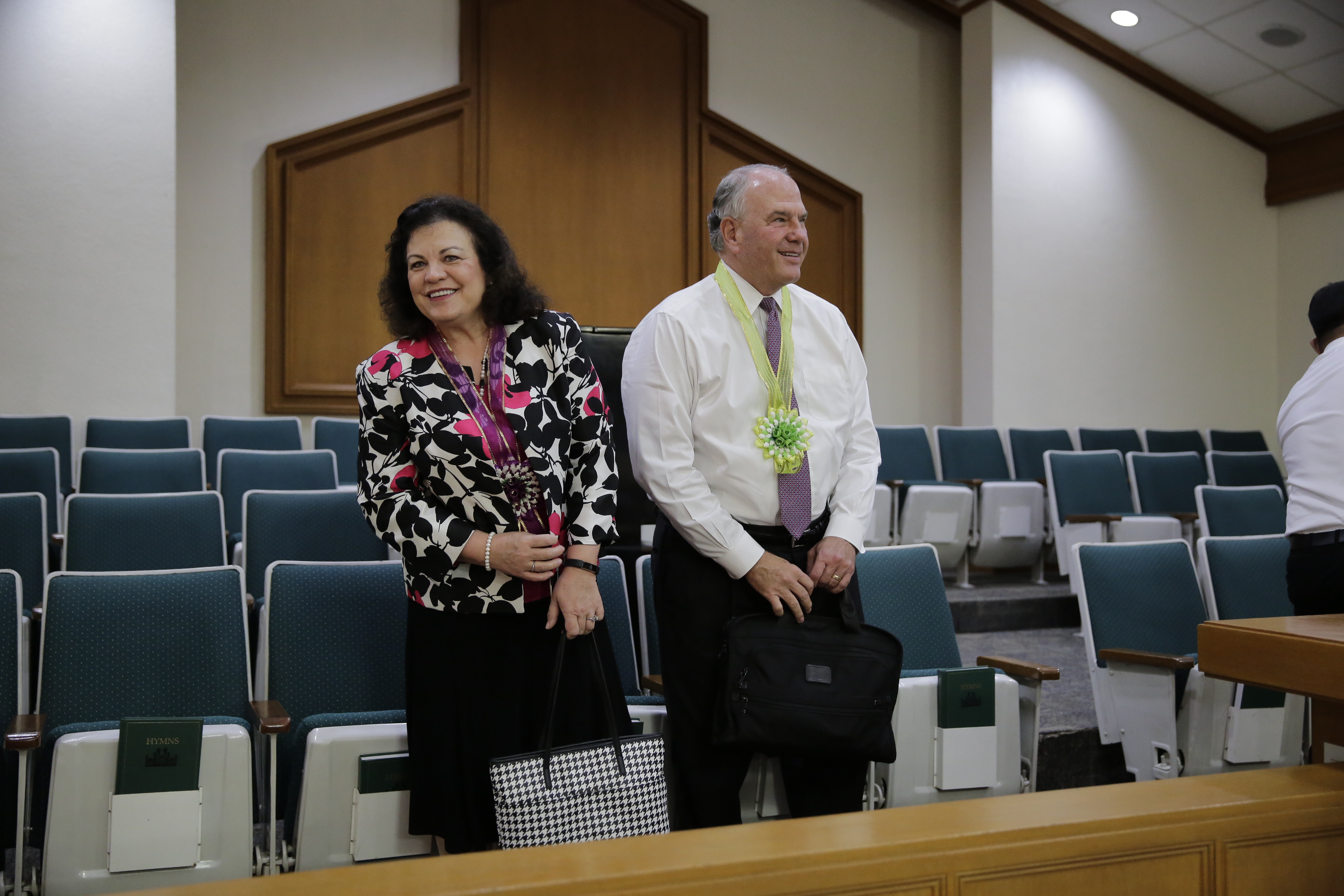 Elder Ronald A. Rasband and his wife, Sister Melanie Rasband speak to Filipino Latter-day Saint during their Feb. 13 through Feb. 26, 2018, trip to the Church's Philippines Area.