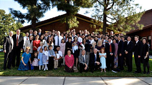 Members of the Yale Branch in the Irvine California Stake gather after being organized as the first Chinese-speaking branch in Orange County.
