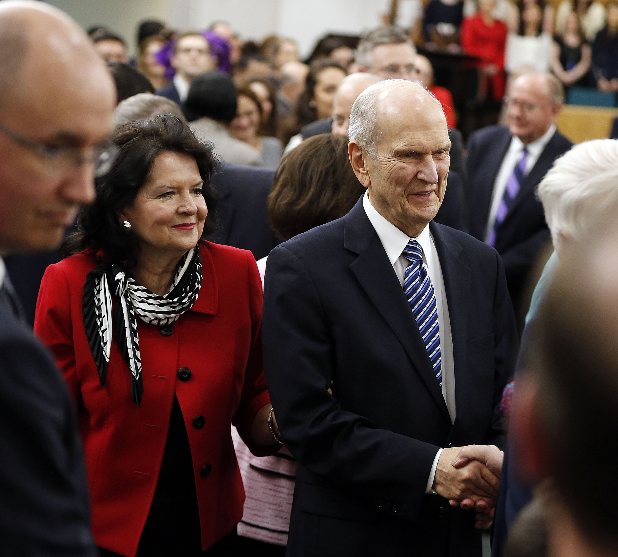 President Russell M. Nelson and Sister Wendy Nelson greet those in attendance following a meeting at the Hyde Park Chapel in London on Thursday, April 12, 2018.