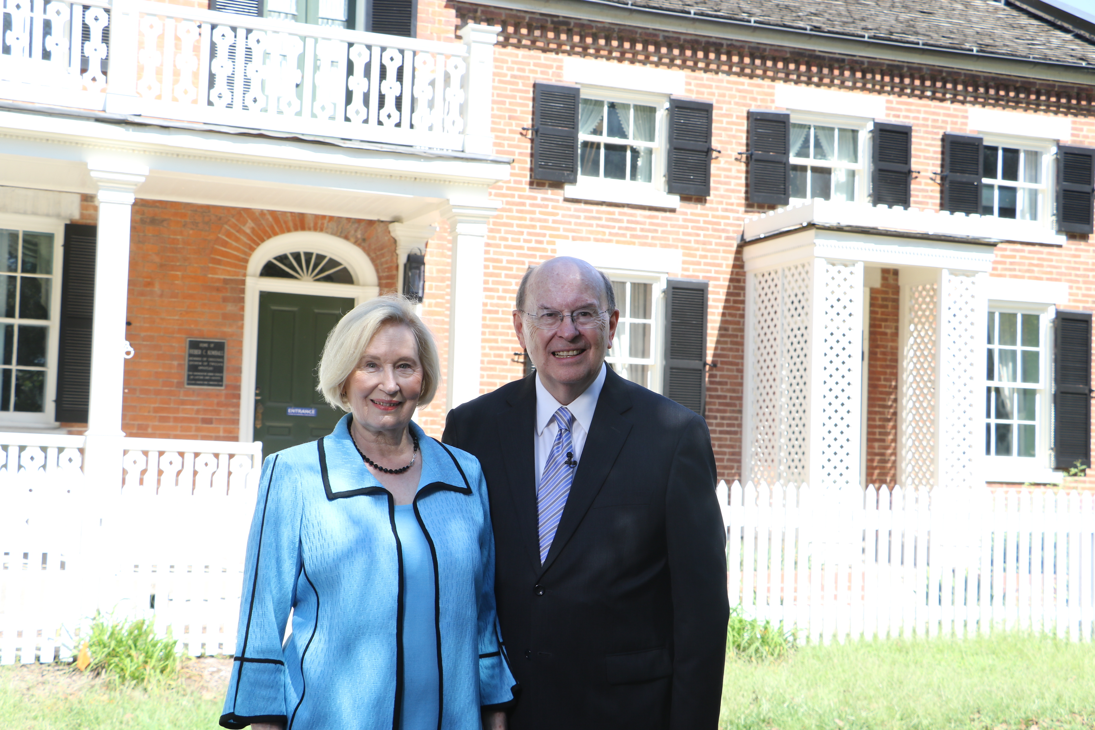 Elder Quentin L. Cook and his wife, Sister Mary Cook, visit Nauvoo before he participated in a Face to Face event in the historic location on Sept. 9, 2018.
