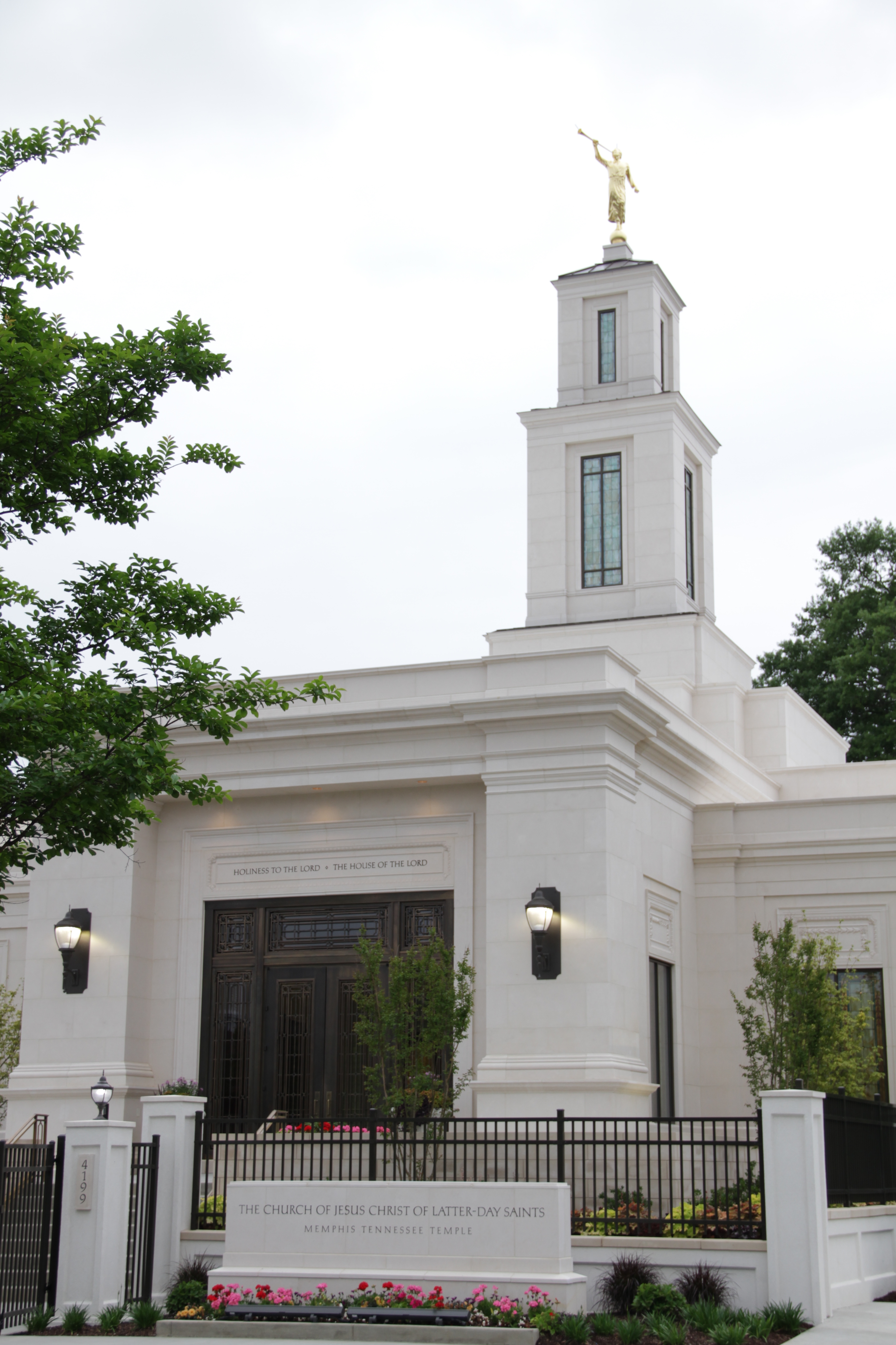 The Memphis Tennessee Temple prior to its rededication on May 3, 2019. The tower was raised 10 feet as part of the 18-month renovation.