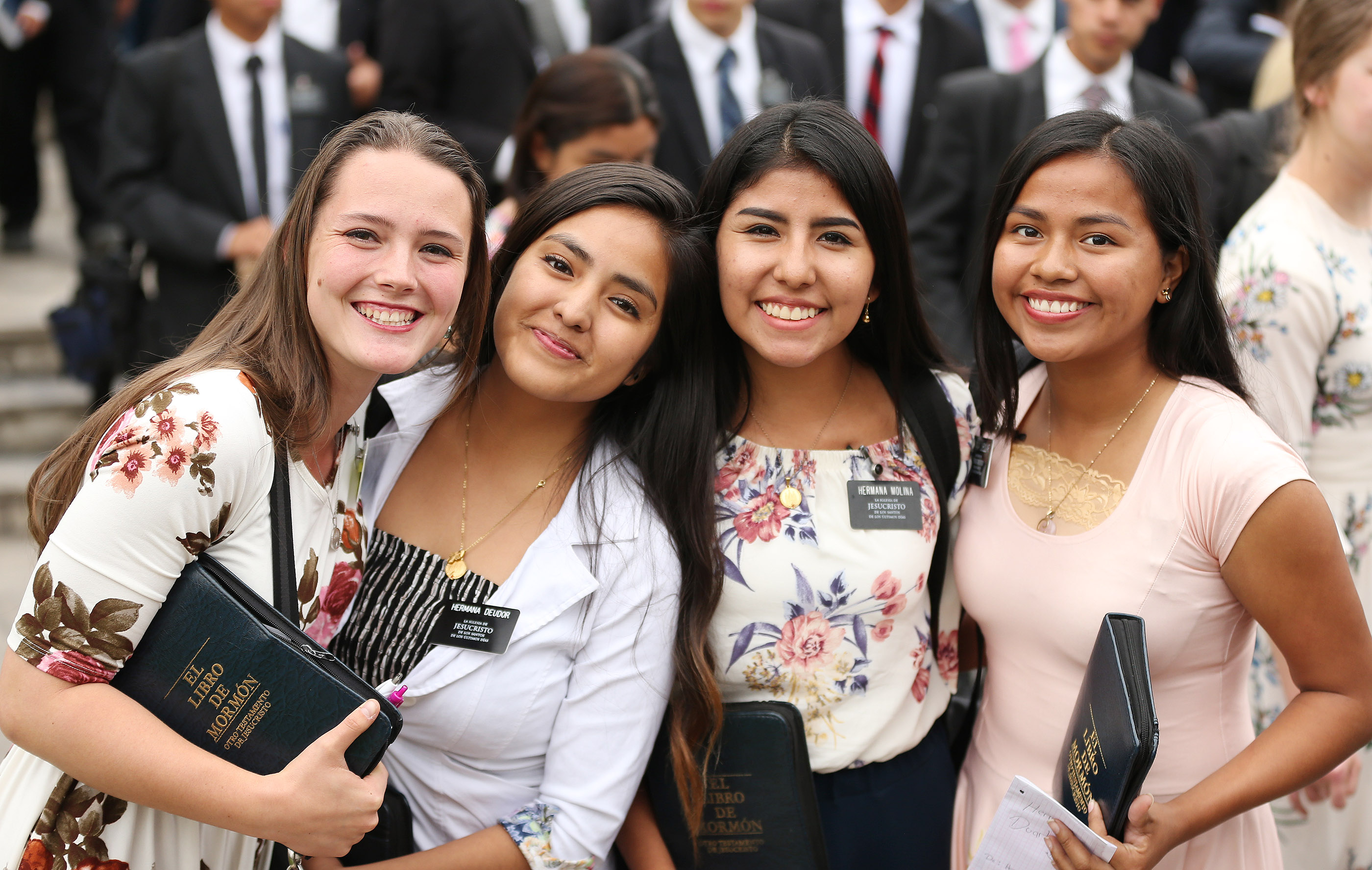 Sister missionaries smile after meeting with President Russell M. Nelson of The Church of Jesus Christ of Latter-day Saints in Lima, Peru on Oct. 20, 2018.