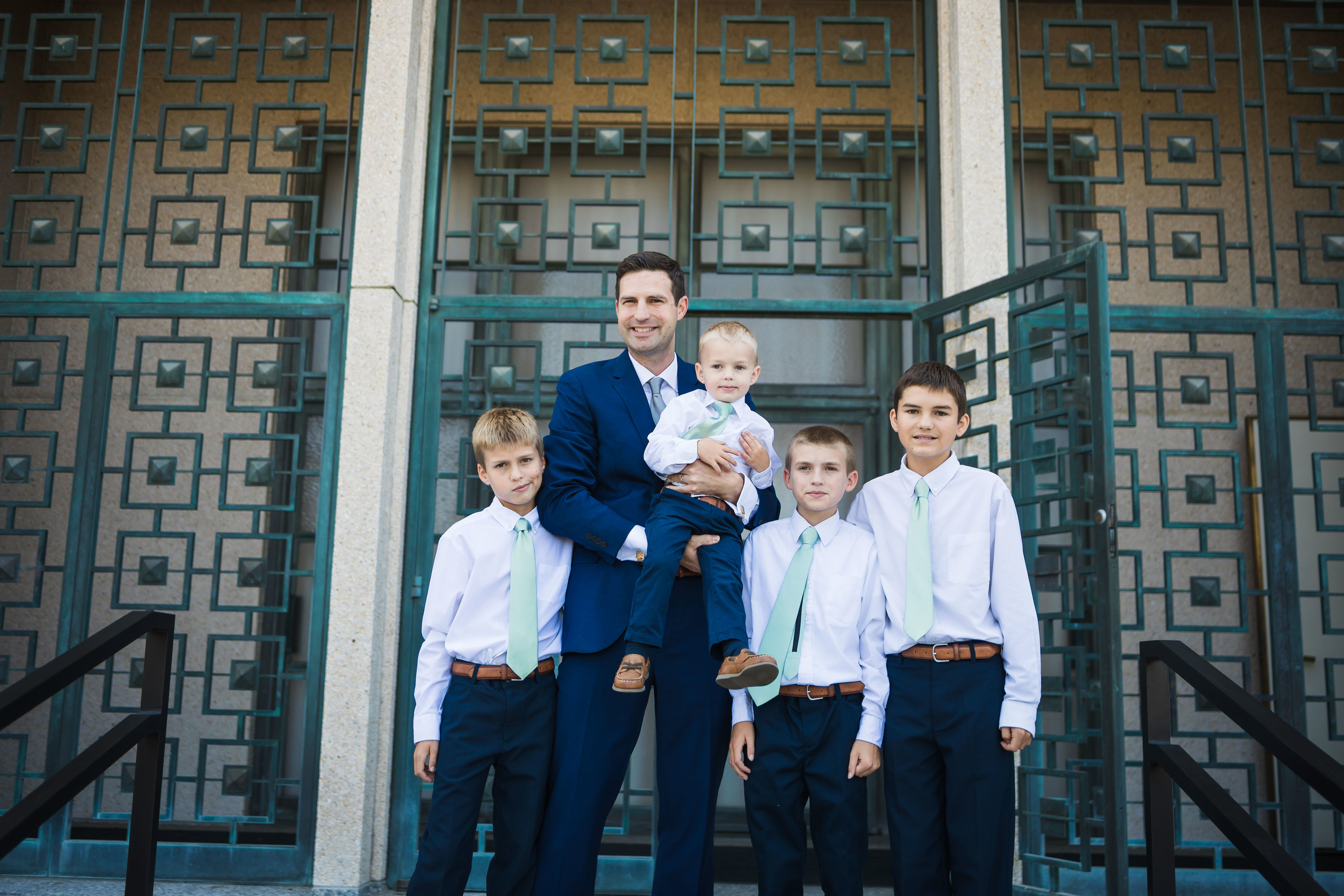 Jacob Evans with his four sons outside the Los Angeles temple on his wedding day.