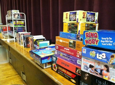 A variety of books and games were available for people to take home.