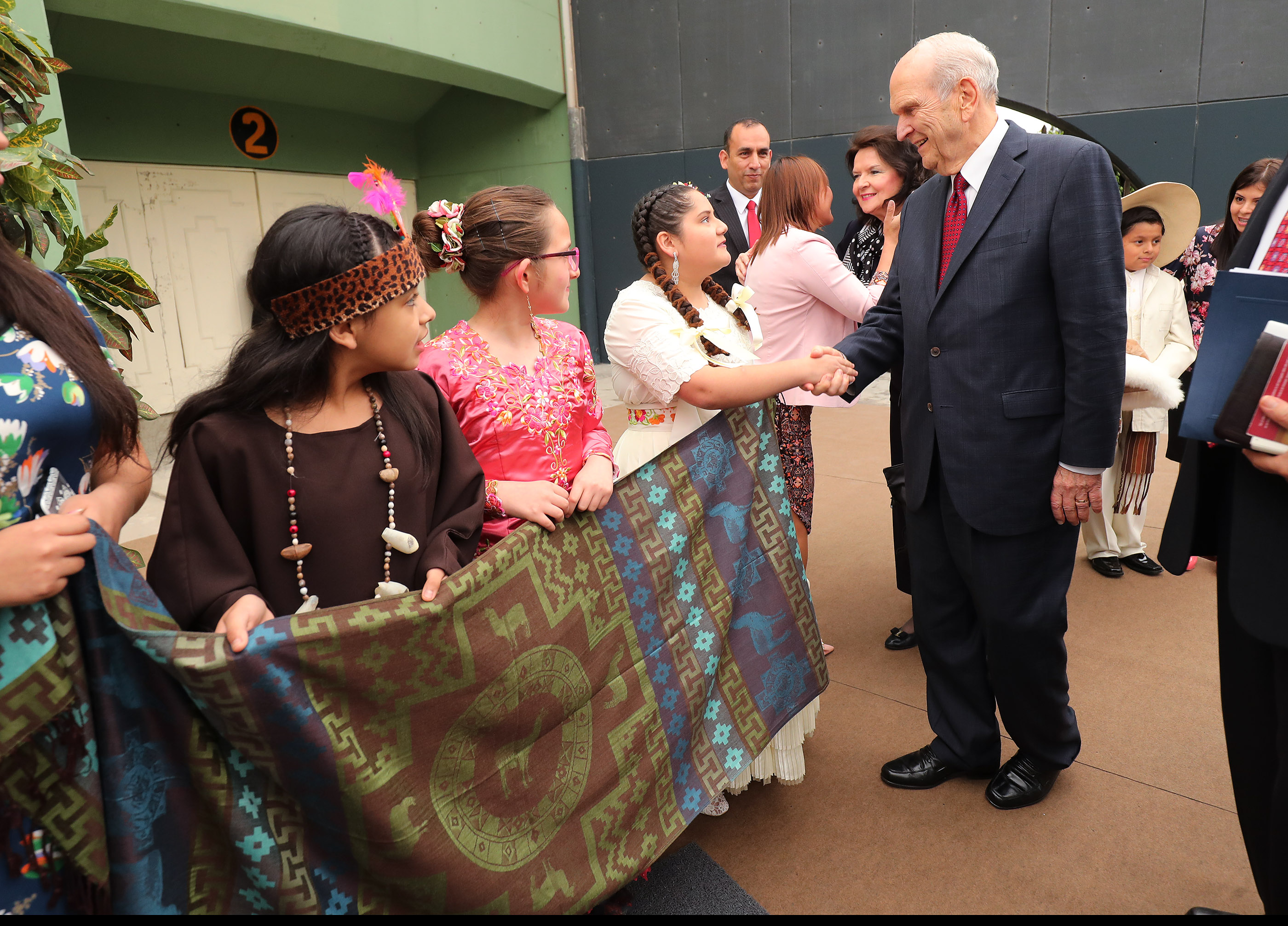 President Russell M. Nelson of The Church of Jesus Christ of Latter-day Saints is greeted prior to a devotional in Lima, Peru, on Oct. 20, 2018.
