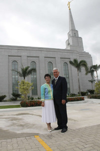 Sister Harriet Uchtdorf and President Dieter F. Uchtdorf, second counselor in the First Presidency, stand in front of the Manaus Brazil Temple.