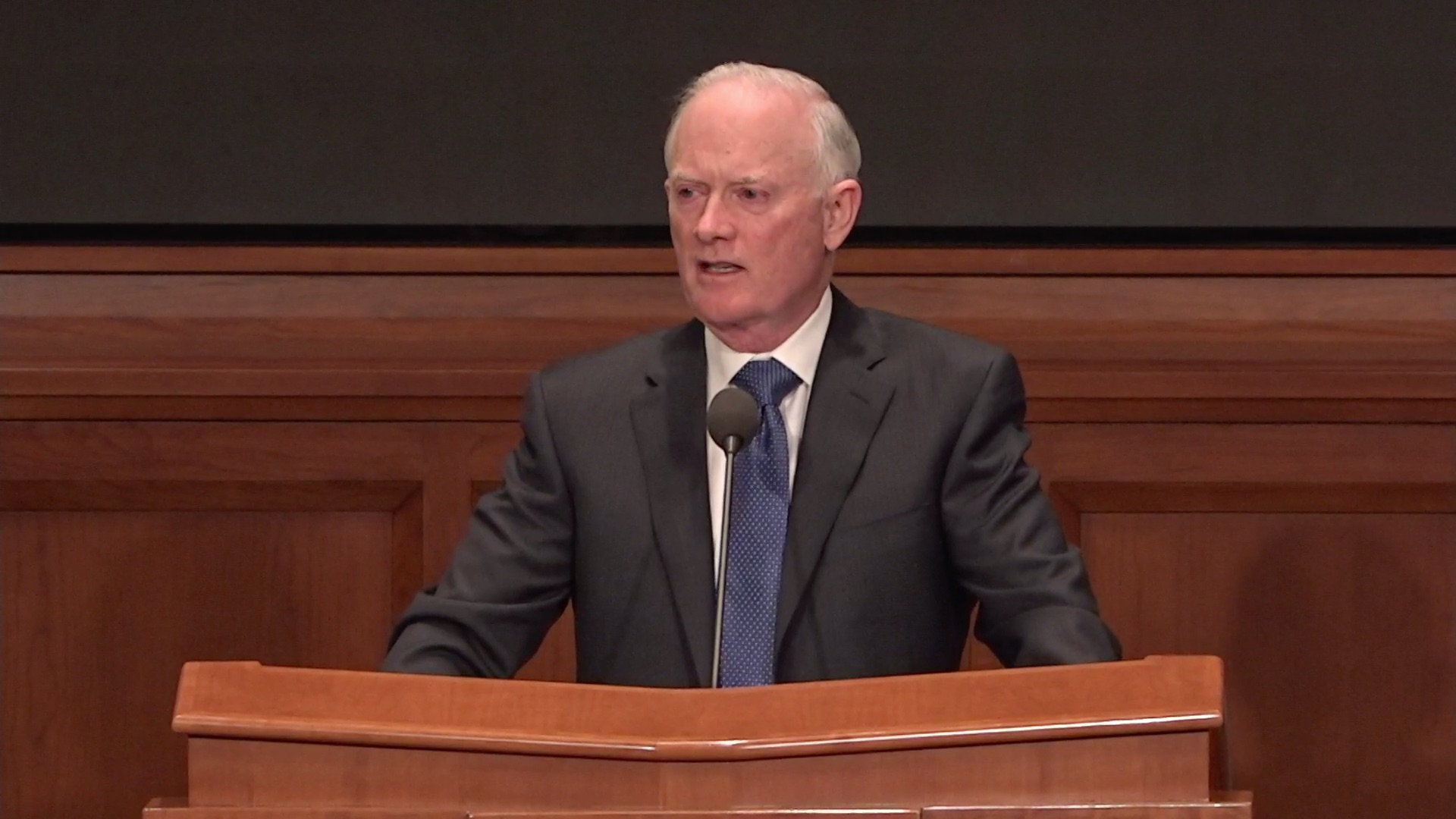 Elder Kim B. Clark, General Authority Seventy and commissioner of Church Education, speaks during the Seminaries and Institutes Annual Training Broadcast on June 12, 2019.