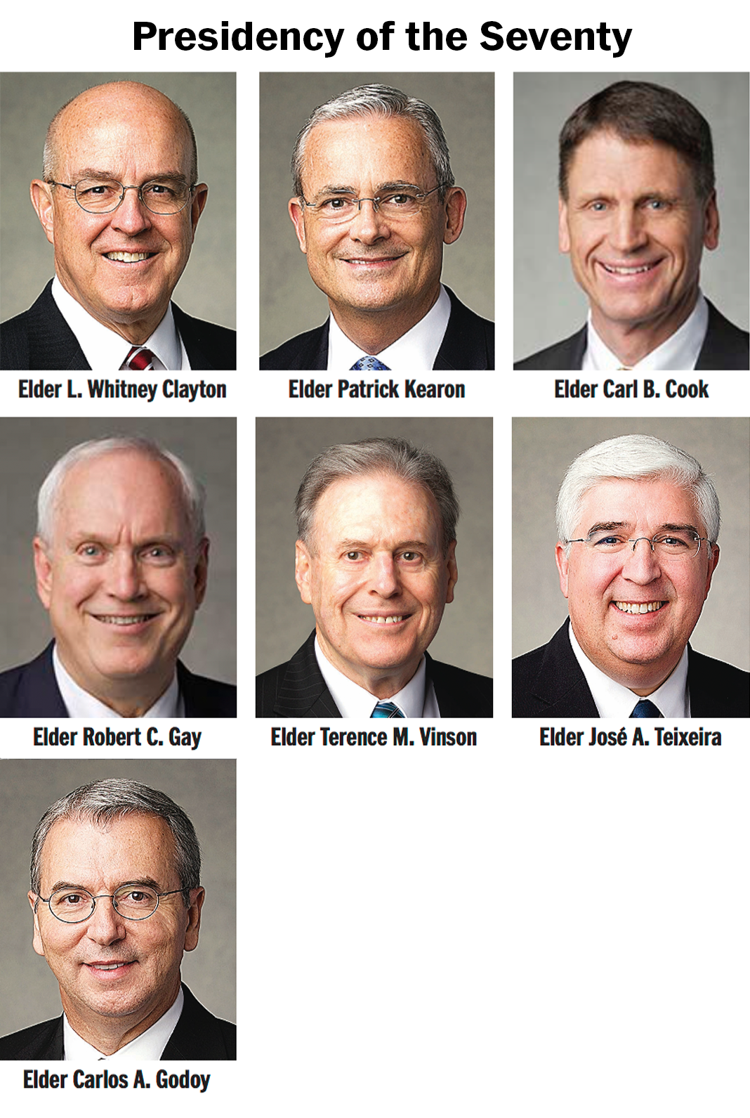 The Presidency of the Seventy: Elder L. Whitney Clayton, Elder Patrick Kearon, Elder Carl B. Cook, Elder Robert C. Gay, Elder Terrence M. Vinson, Elder José A. Teixeira and Elder Carlos A Godoy.