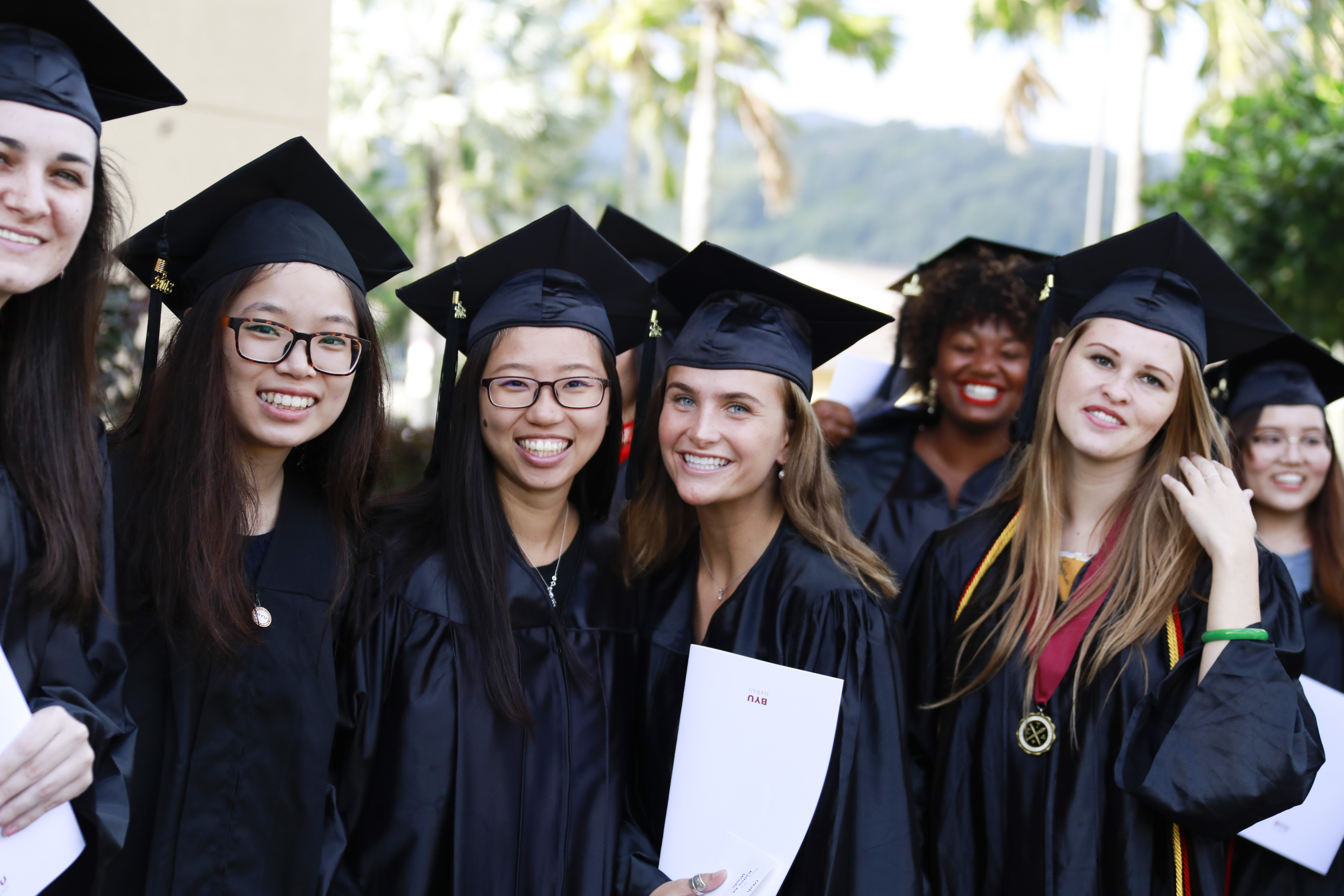 BYU-Hawaii graduates celebrate after commencement exercises held on Dec. 14.