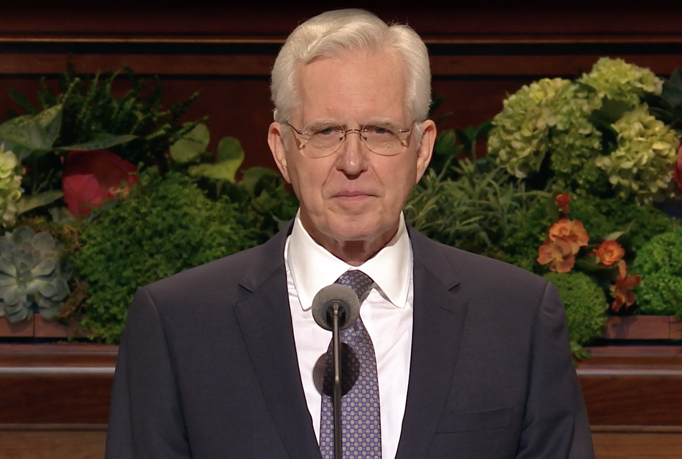 Elder D. Todd Christofferson of the Quorum of the Twelve Apostles gives his address during the Sunday morning session of the 189th Annual General Conference on April 7, 2019.
