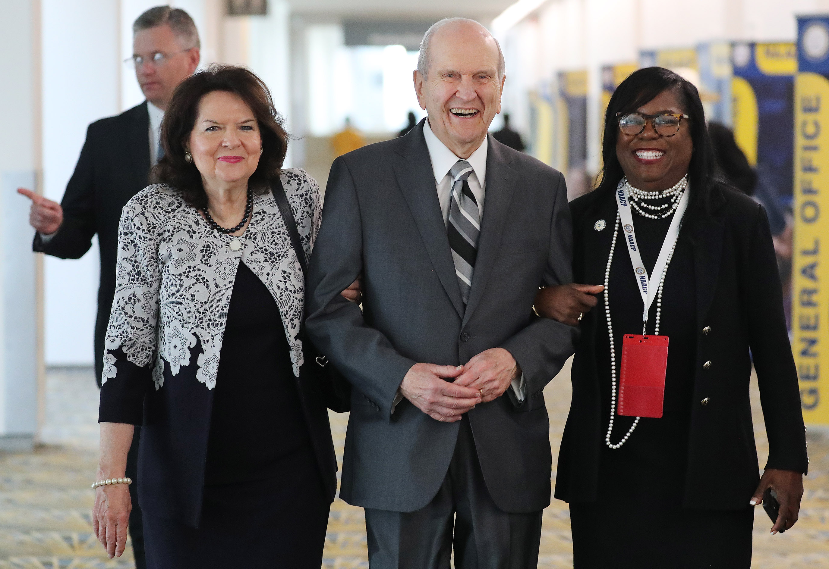 President Russell M. Nelson of The Church of Jesus Christ of Latter-day Saints and his wife, Sister Wendy Nelson, with the Rev. Theresa Deer while meeting with NAACP leaders at the 110th annual national convention for the National Association for the Advancement of Colored People in Detroit, Michigan, on Sunday, July 21, 2019.