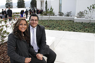 Guatemalan members Ligia and Herman Lang outside the newly dedicated temple in Quetzaltenango.