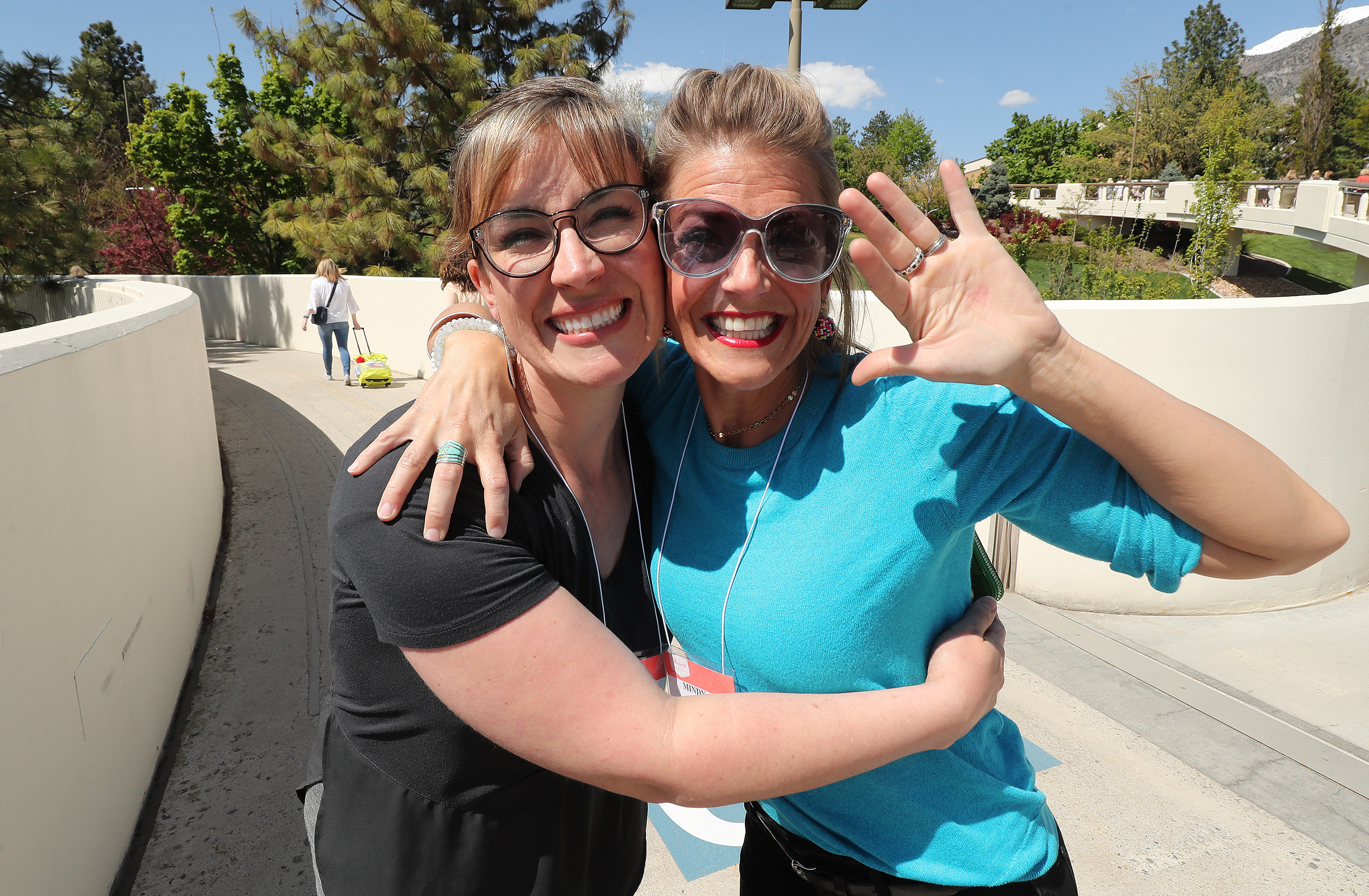 Jessica Edwards and Mindy Jo Choate pose during BYU Women's Conference in Provo on Friday, May 3, 2019.